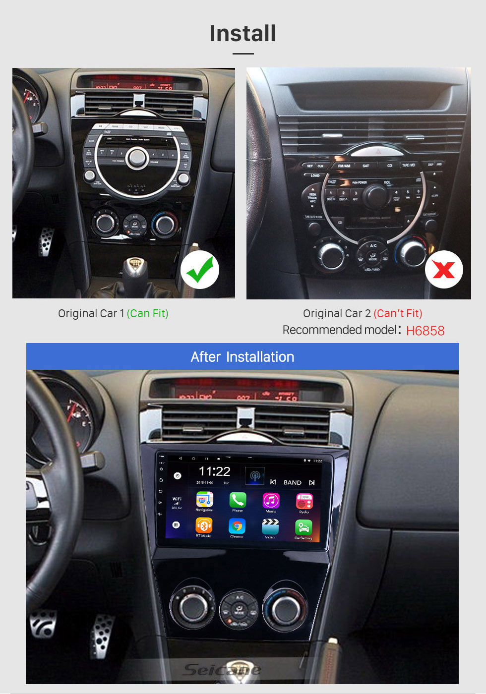 Seicane Android 10.0 9 inch for 2003-2010 Mazda RX8 Radio HD Touchscreen GPS Navigation System with Bluetooth support Carplay Backup camera