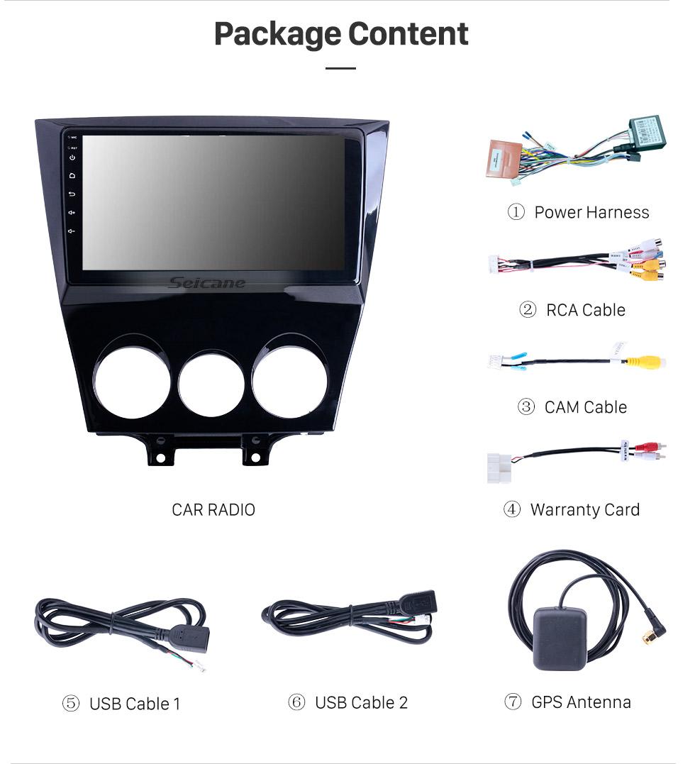 Seicane Android 10.0 9 polegadas para 2011 Mazda RX8 Radio HD Touchscreen Sistema de Navegação GPS com suporte Bluetooth Carplay Backup camera