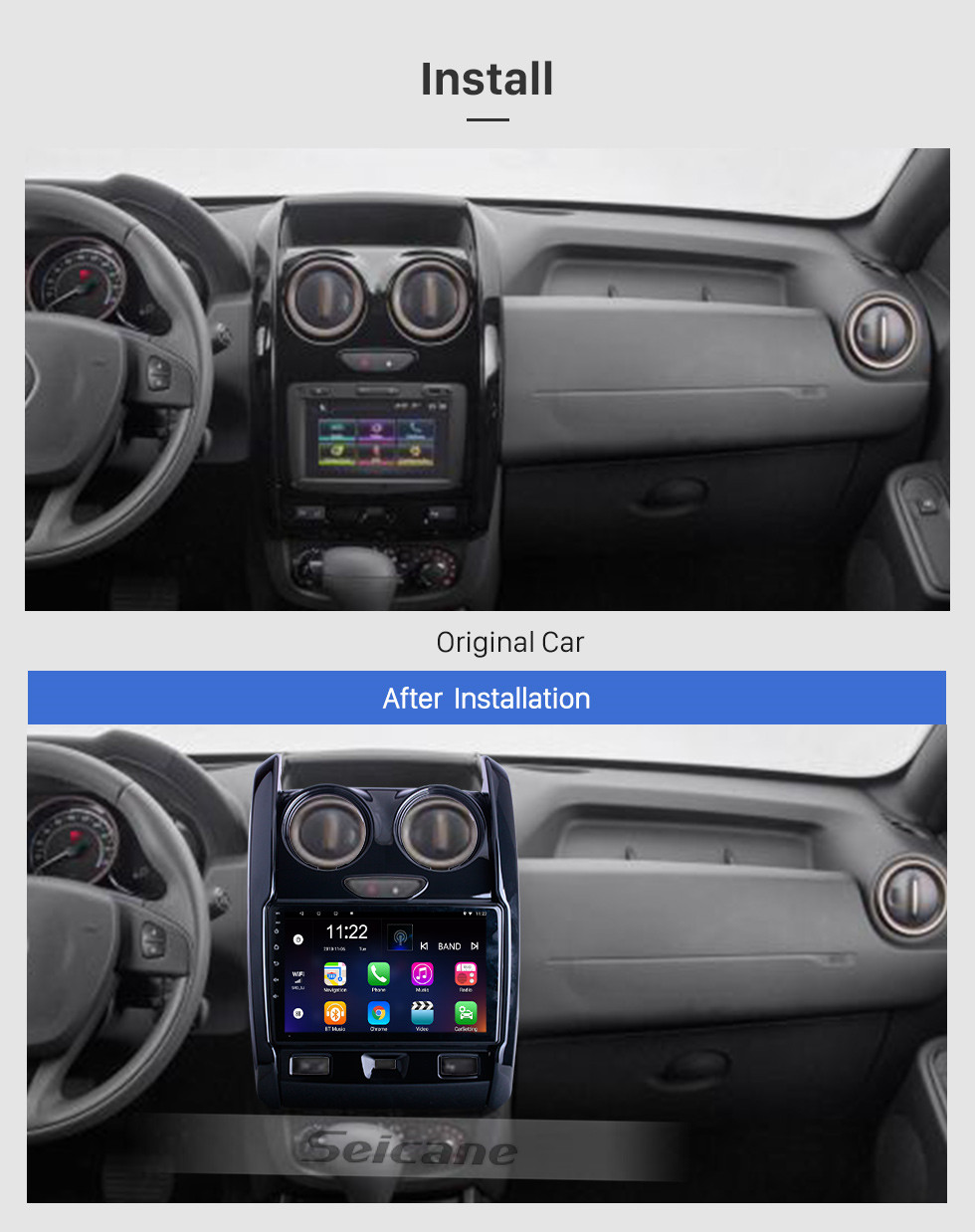 Seicane For 2015 2016 2017-2020 Renault Duster Radio 9 inch Android 10.0 HD Touchscreen GPS Navigation System with Bluetooth support Carplay OBD2
