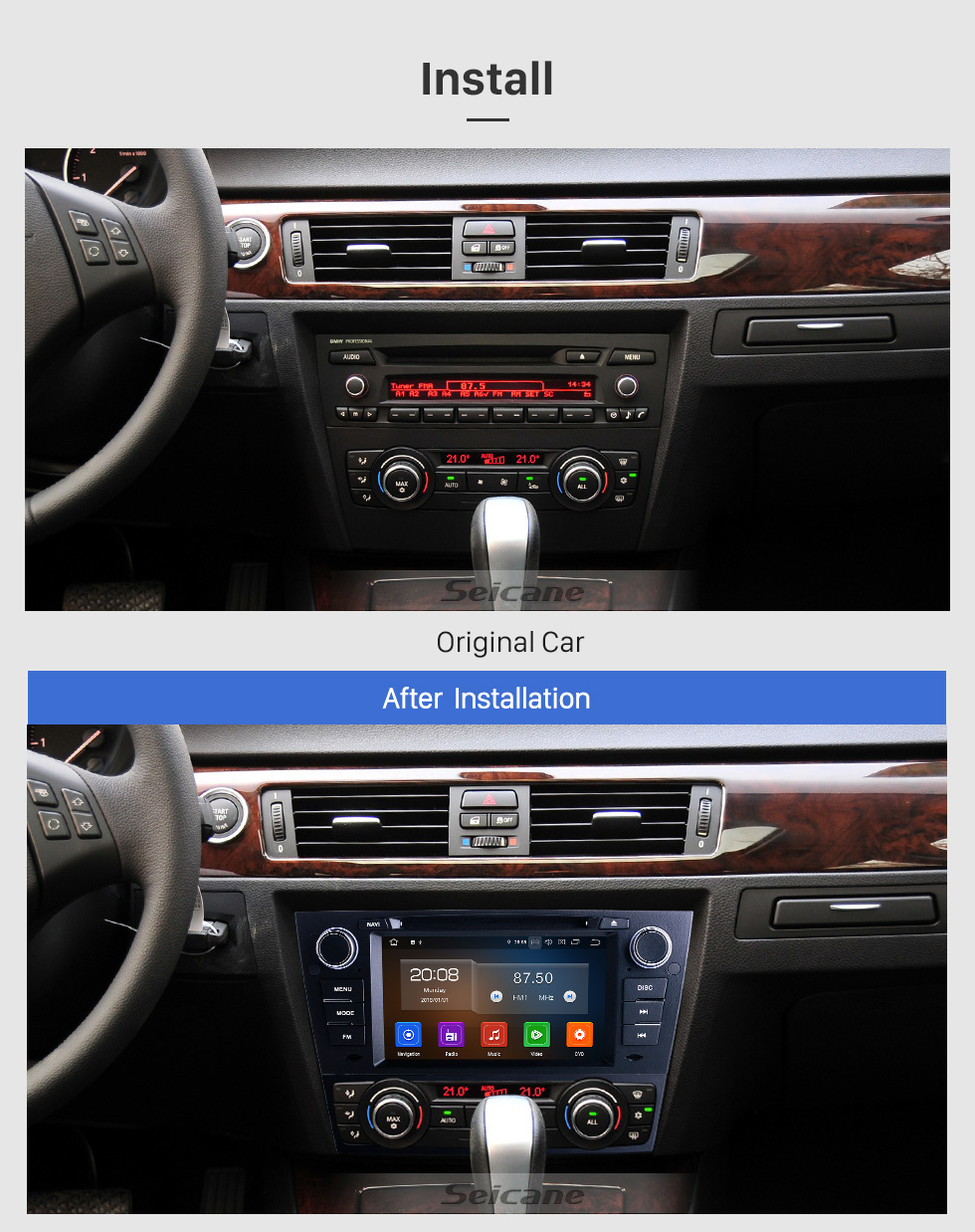 Seicane OEM 7 inch Android 10.0 for 2012 BMW 3 Series E90 Auto/Manual A/C Radio with Bluetooth HD Touchscreen GPS Navigation System Carplay support DVR