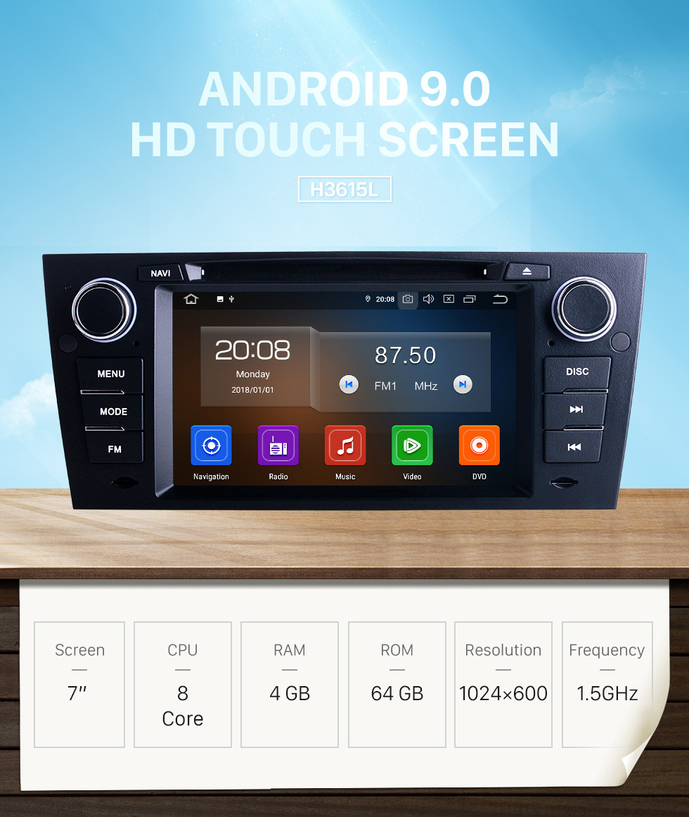 Seicane 7 inch For 2012 BMW 3 Series E90 Auto/Manual A/C Radio Android 9.0 GPS Navigation System with Bluetooth HD Touchscreen Carplay support Digital TV