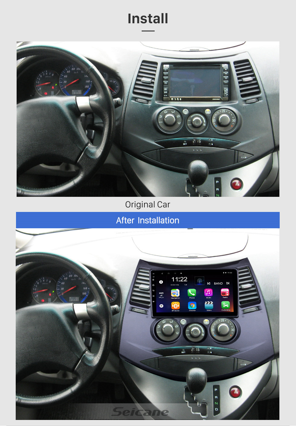Seicane OEM 9 inch Android 10.0 for 2006 Mitsubishi Grandis Radio with Bluetooth HD Touchscreen GPS Navigation System support Carplay