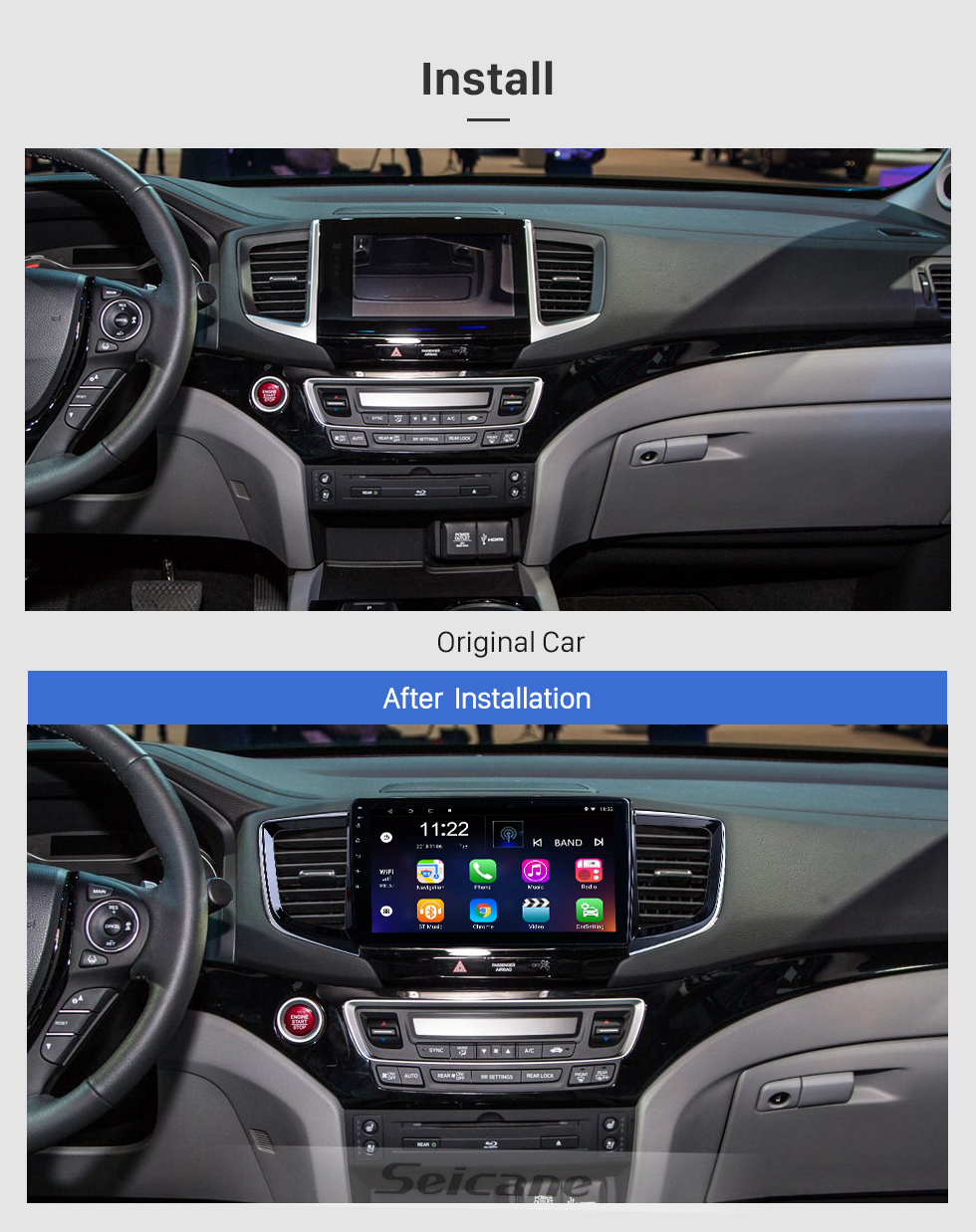 Seicane HD Touchscreen 10.1 inch Android 10.0 for 2016 Honda Pilot Radio GPS Navigation System with Bluetooth support Carplay DAB+
