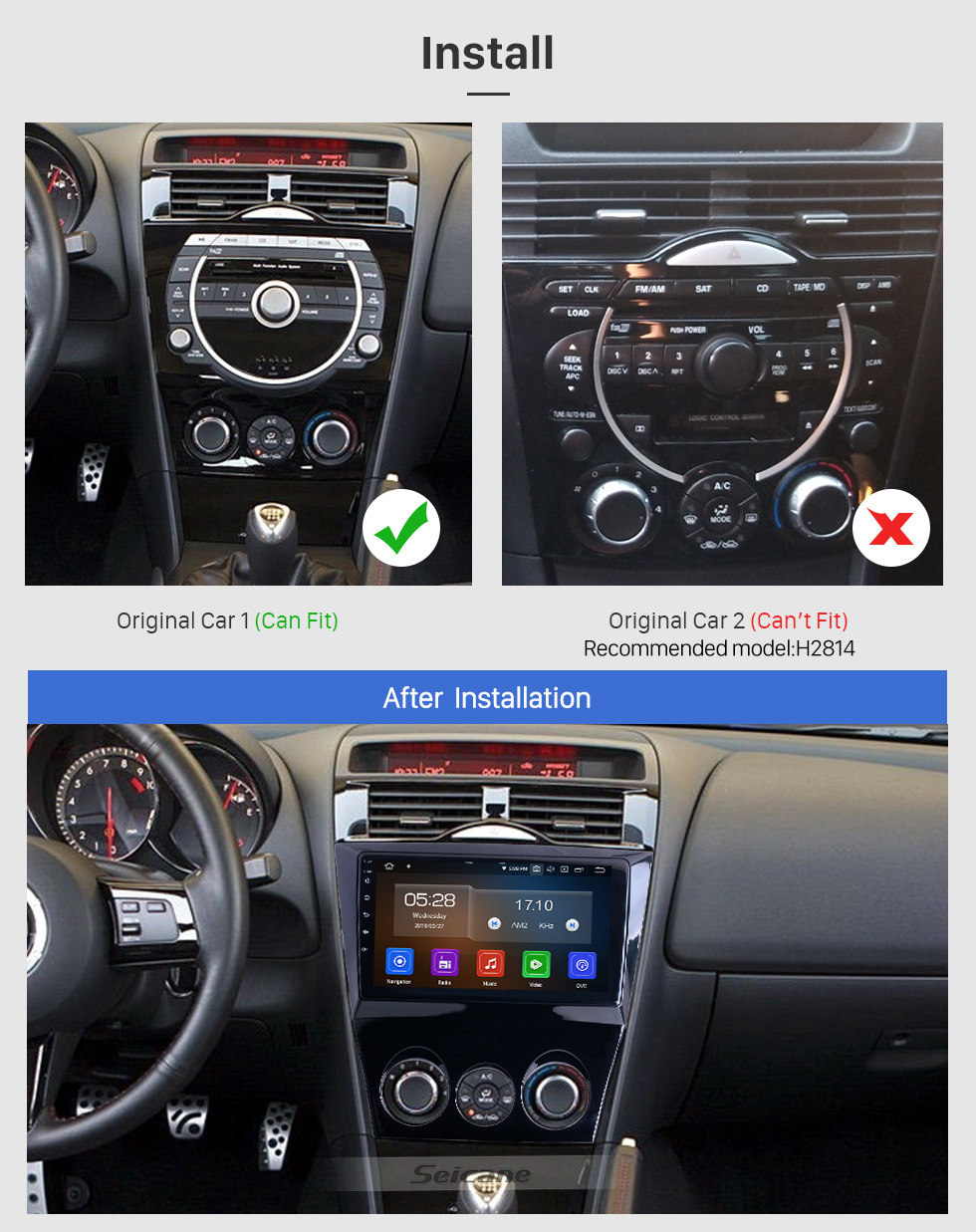 Seicane OEM 9 inch Android 10.0 for 2011 Mazda RX8 Radio with Bluetooth WIFI HD Touchscreen GPS Navigation System Carplay support DVR