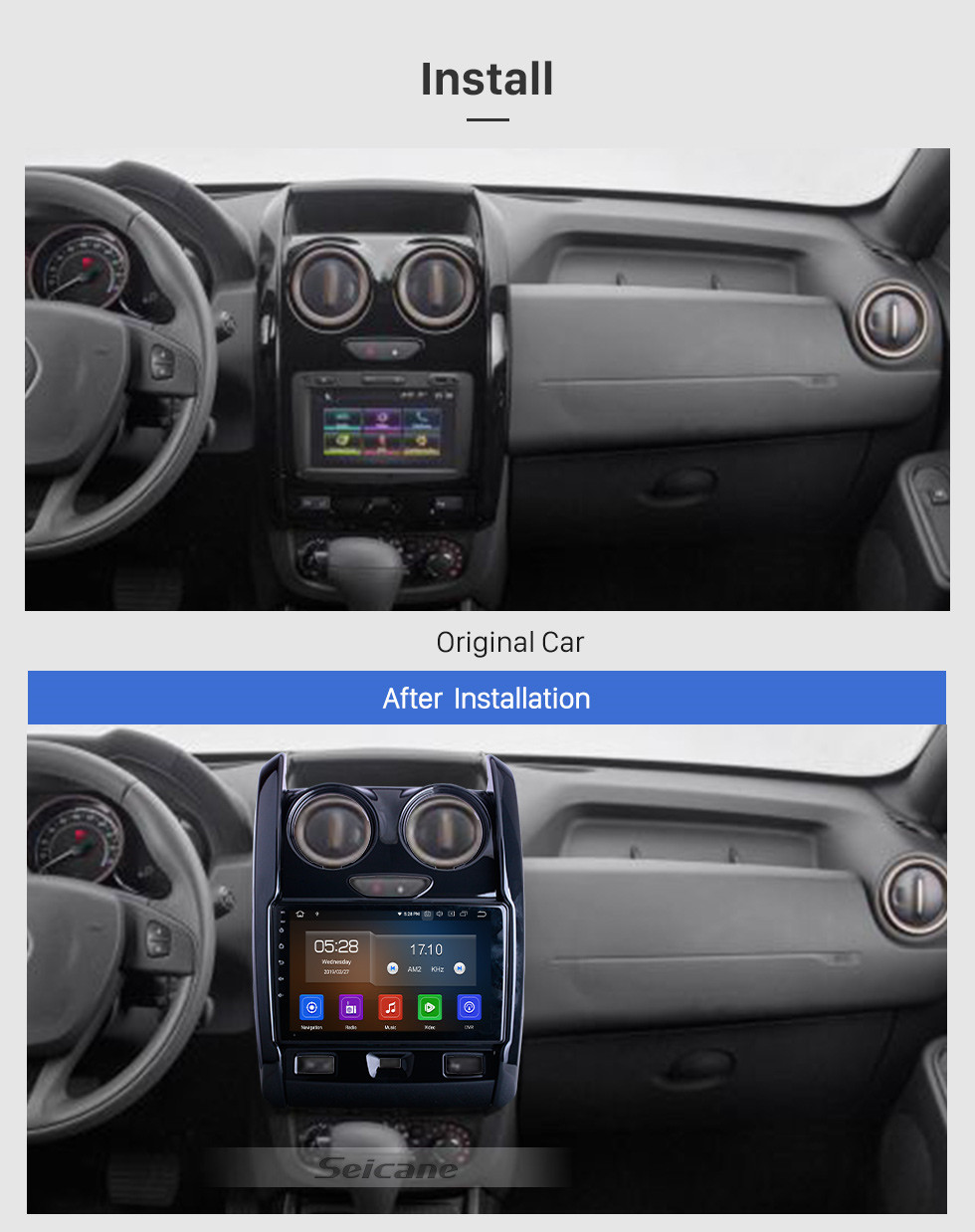 Seicane Android 10.0 For 2015-2018 2019 2020 Renault Duster Radio 9 inch GPS Navigation System Bluetooth AUX HD Touchscreen Carplay support SWC