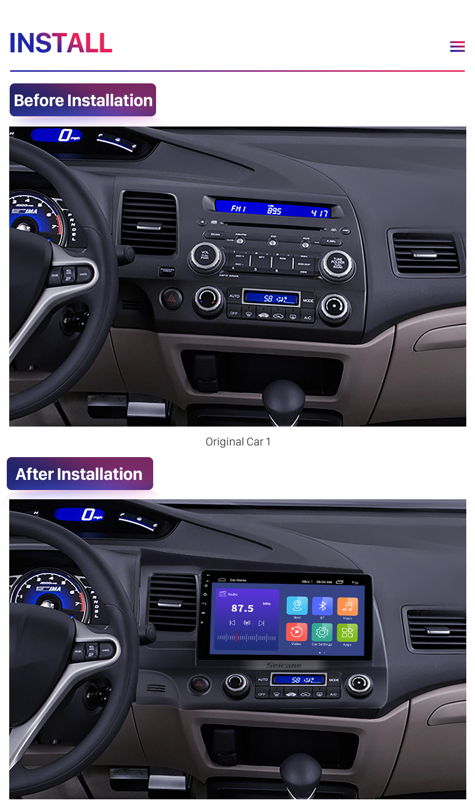 Seicane 9 inch 1024*600 HD Touch Screen Android 9.0 GPS Navigation Radio for 2006-2011 Honda Civic(LHD) with Bluetooth WIFI OBD2 USB Audio Aux 1080P Rearview Camera
