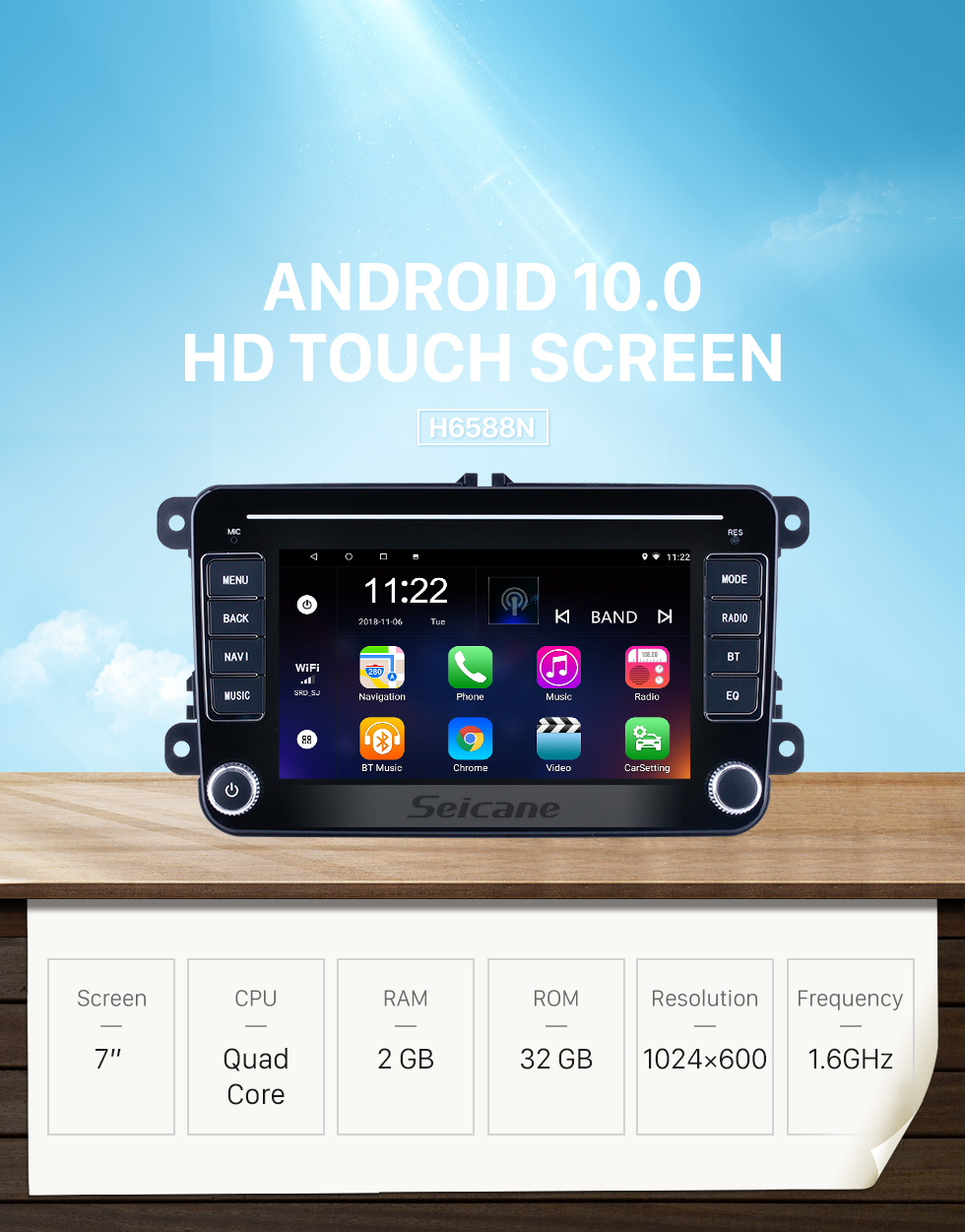 Seicane OEM Style 7 inch Android 10.0 for VW Volkswagen Universal Radio HD Touchscreen GPS Navigation System With Bluetooth support Carplay DVR