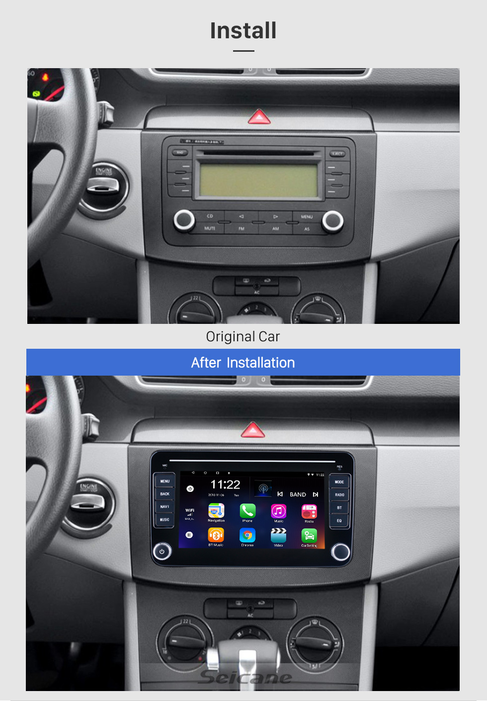 Seicane Aftermarket Android 10.0 for VW Volkswagen Universal Radio 7 inch HD Touchscreen GPS Navigation System With Bluetooth support Carplay TPMS