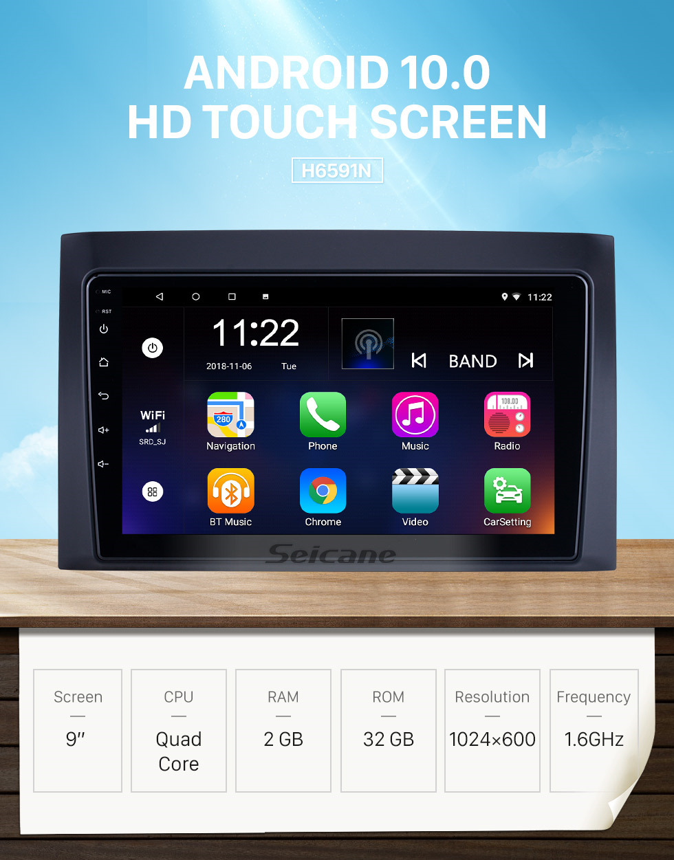 Seicane Android 10.0 HD Touchscreen 9 inch for 2008 2009 2010 2011 Isuzu D-Max Radio GPS Navigation System with USB Bluetooth support Carplay