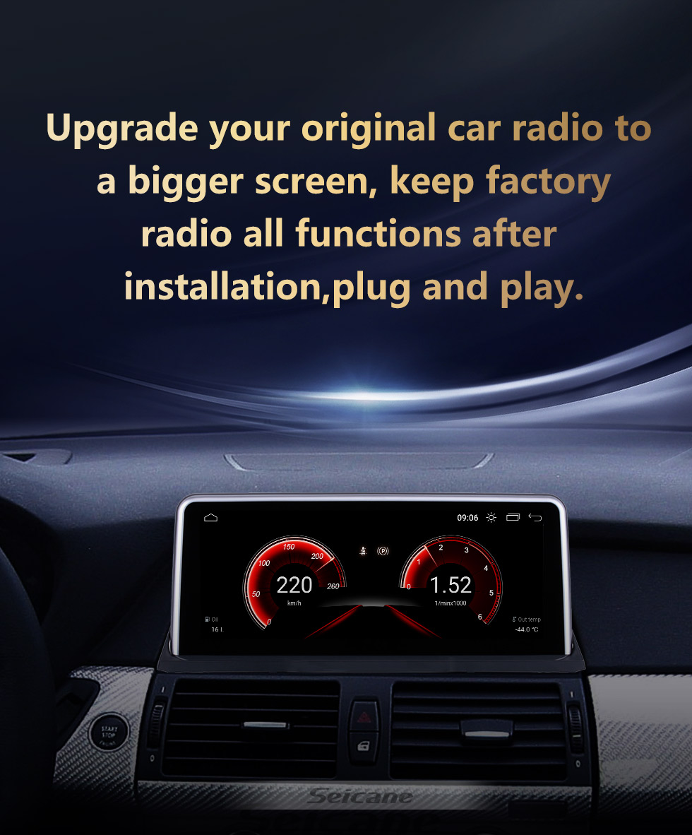 Seicane For BMW X5 E70 /X6 E71 (2011-2014) CIC Radio 10.25 inch Android 10.0 HD Touchscreen GPS Navigation System with Bluetooth support Carplay OBD2