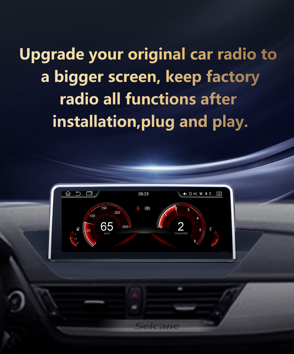 Seicane 10.25 Inch HD Touchscreen Android 10.0 2009-2015 BMW X1 E84 Car Radio Head Unit GPS Navigation Bluetooth Support Rearview Camera Steering Wheel Control USB WIFI Mirror Link OBD2