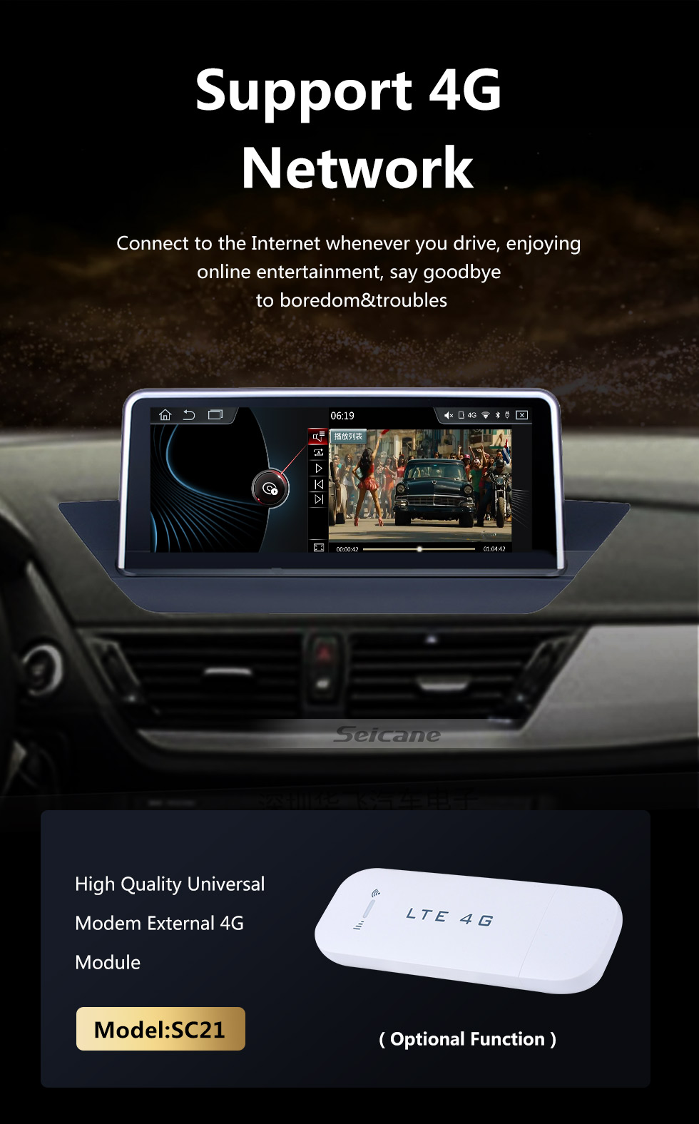 Seicane 10.25 inch Android 10.0 for BMW X1 E84(2009-2015) CIC Radio GPS Navigation System With HD Touchscreen Bluetooth support Carplay DVR
