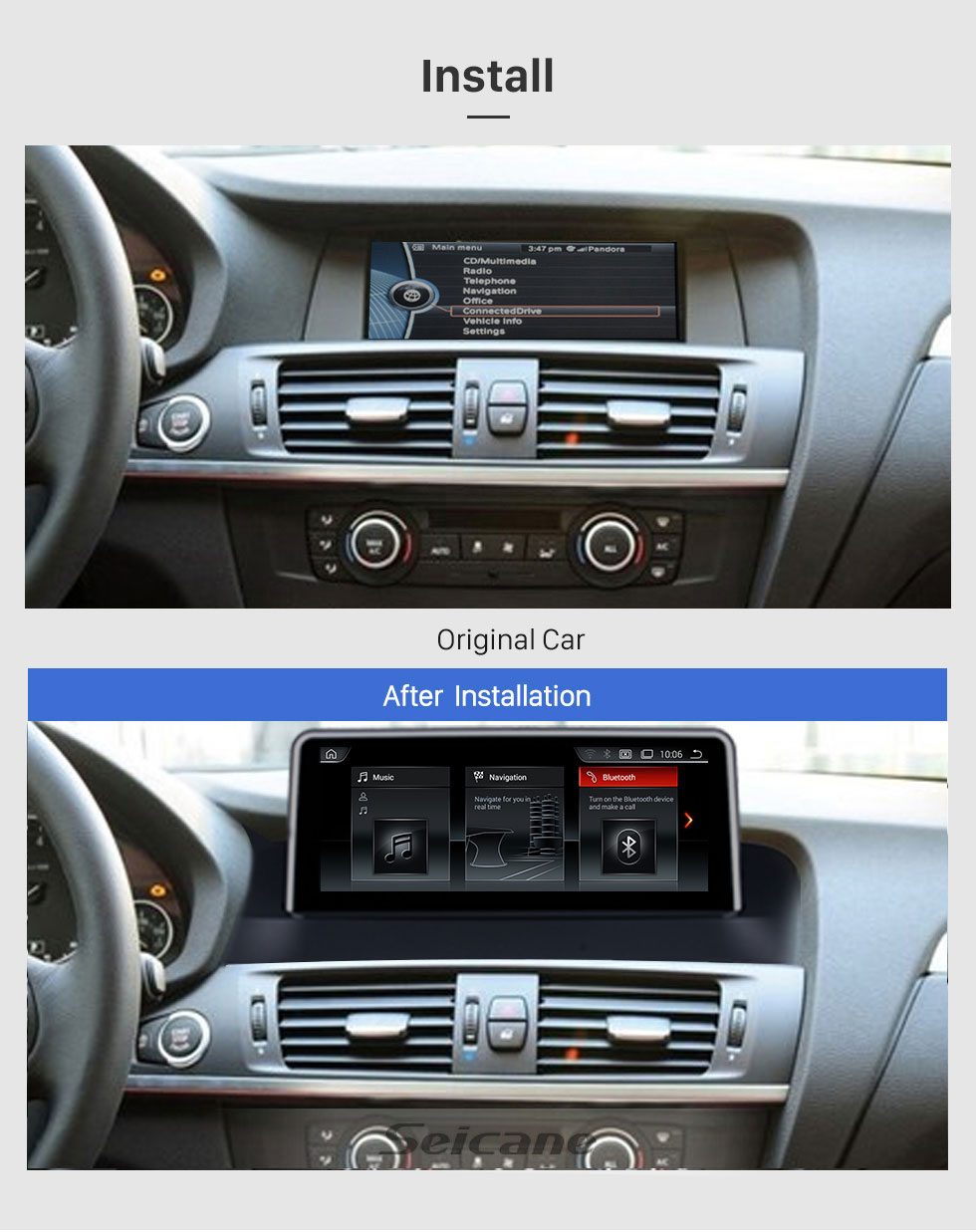 Seicane HD Touchscreen 8.8 inch for BMW X3 F25/X4(2010-2013) CIC Radio Android 10.0 GPS Navigation System with Bluetooth support Carplay TPMS