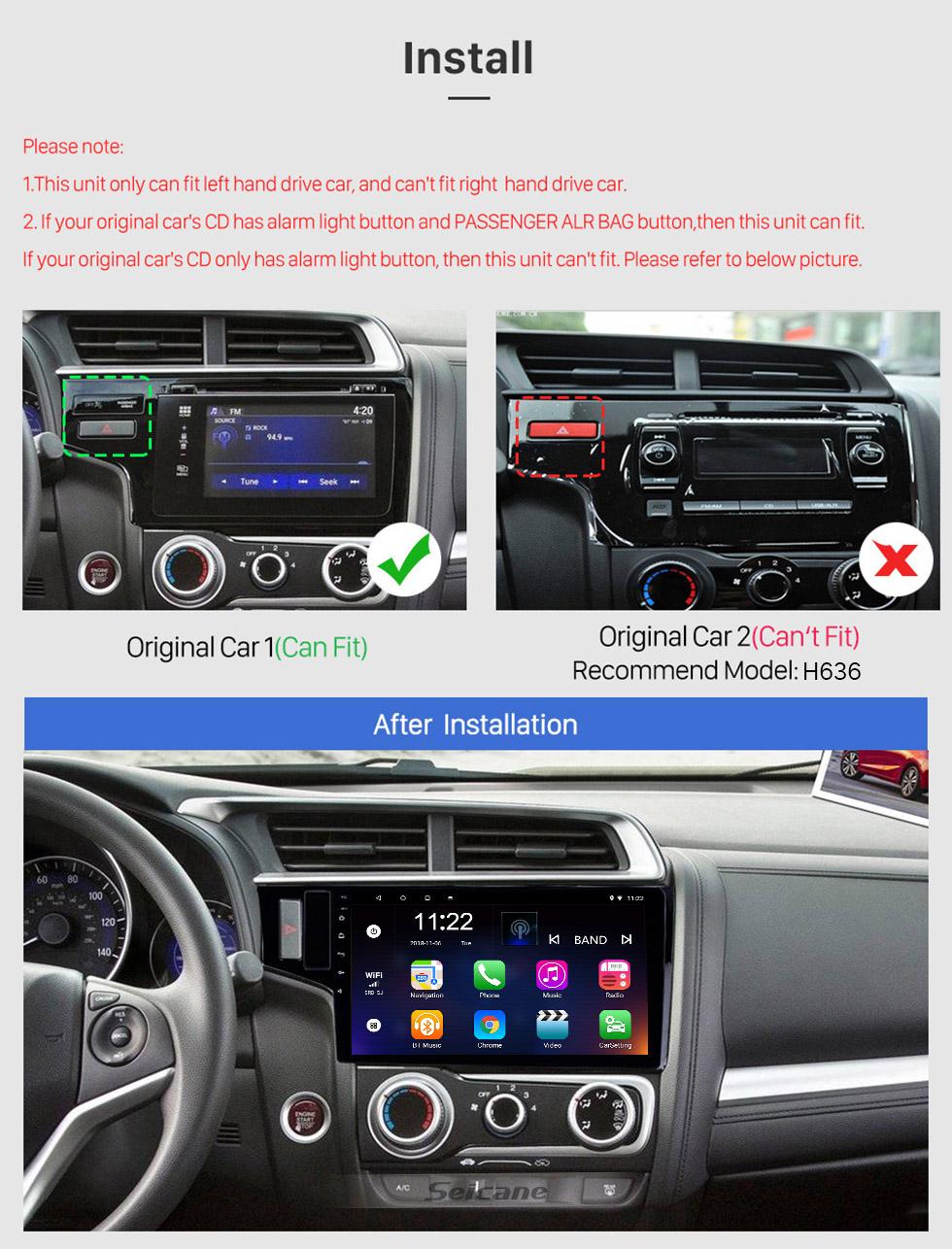 Seicane 10,1 Zoll Android 10.0 GPS Navigationsradio für 2013-2015 Honda Fit LHD mit HD Touchscreen Bluetooth Unterstützung Carplay TPMS