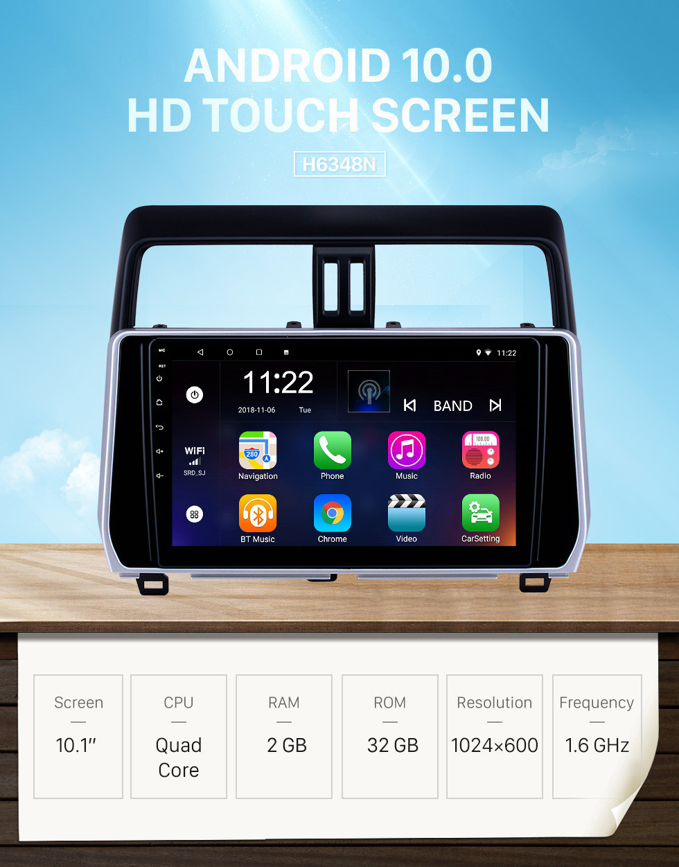 Seicane 10.1 inch Android 10.0 GPS Navigation Radio for 2018 Toyota Prado with HD Touchscreen Bluetooth support Carplay Steering Wheel Control