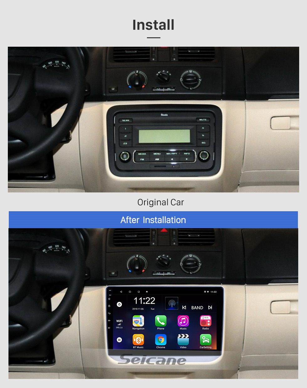 Seicane 10.1 inch Android 10.0 for 2008 2009 2010-2014 Skoda Fabia Radio GPS Navigation System With HD Touchscreen Bluetooth support Carplay DVR