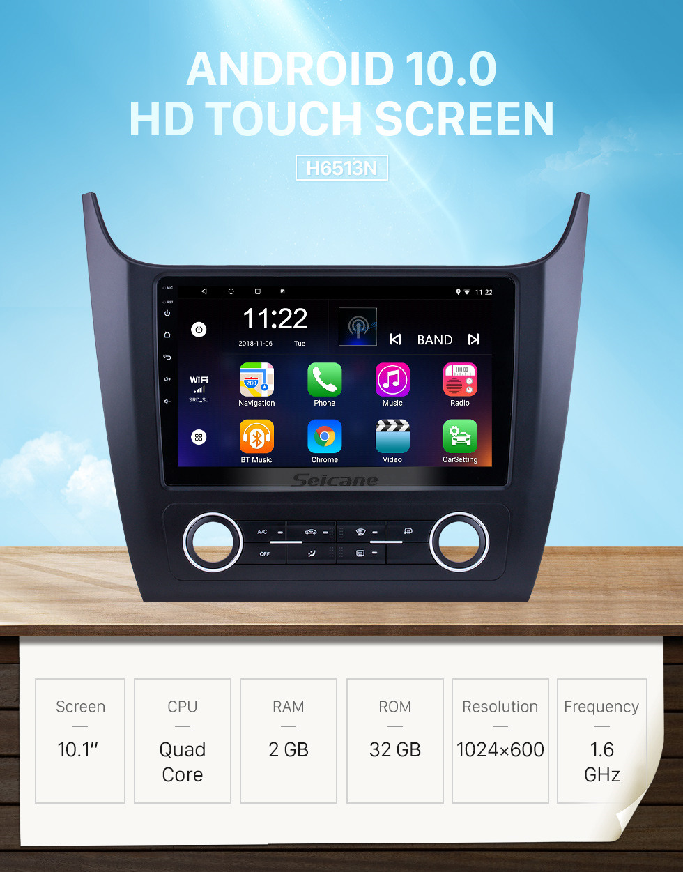 Seicane HD Touchscreen 10.1 inch for 2019 Changan Cosmos Manual A/C Radio Android 10.0 GPS Navigation System with Bluetooth support Carplay DAB+