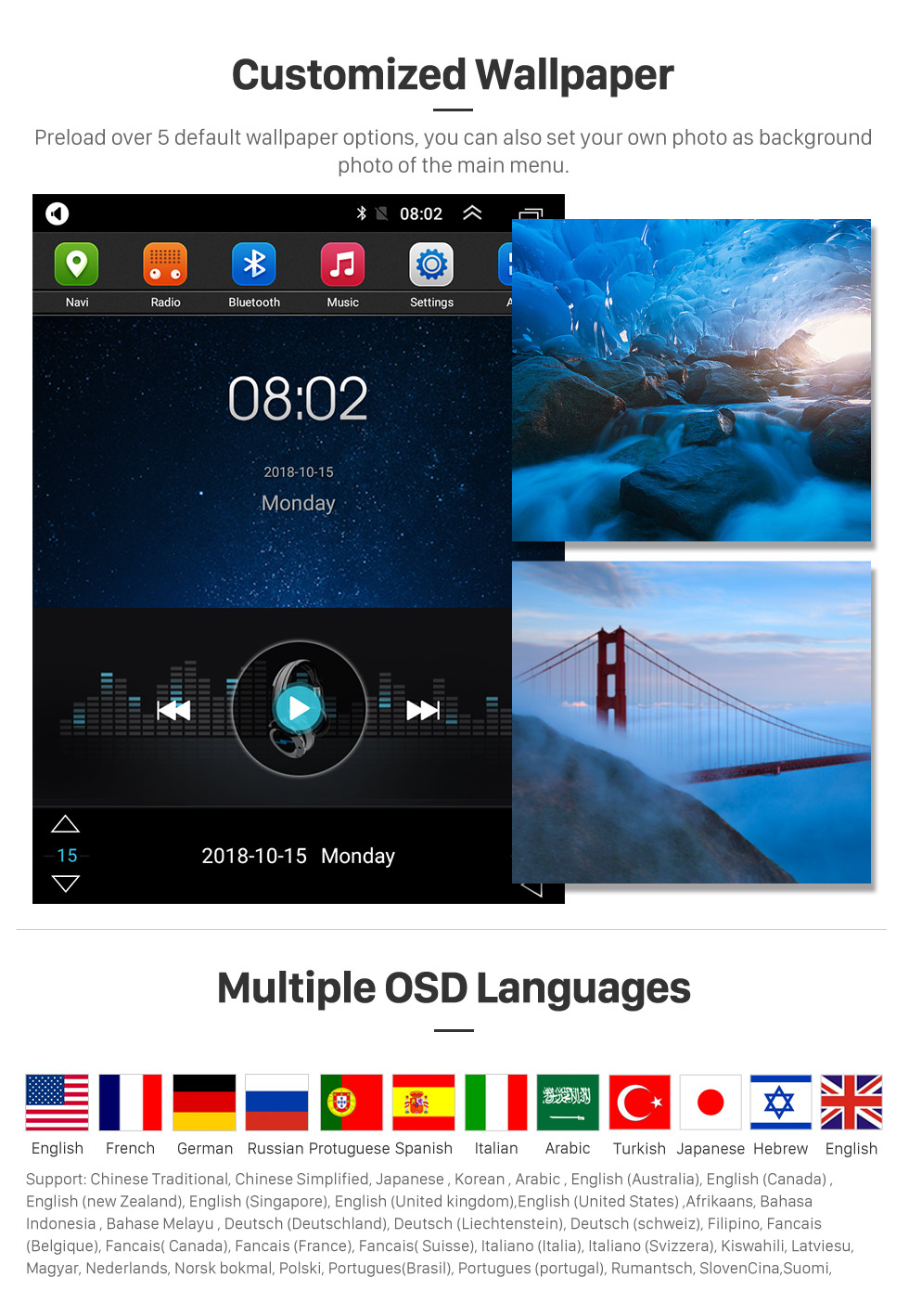 Seicane Android 9.1 9.7 inch for 2016 Toyota Prado Radio GPS Navigation System with HD Touchscreen Bluetooth AUX support Carplay DVR OBD2