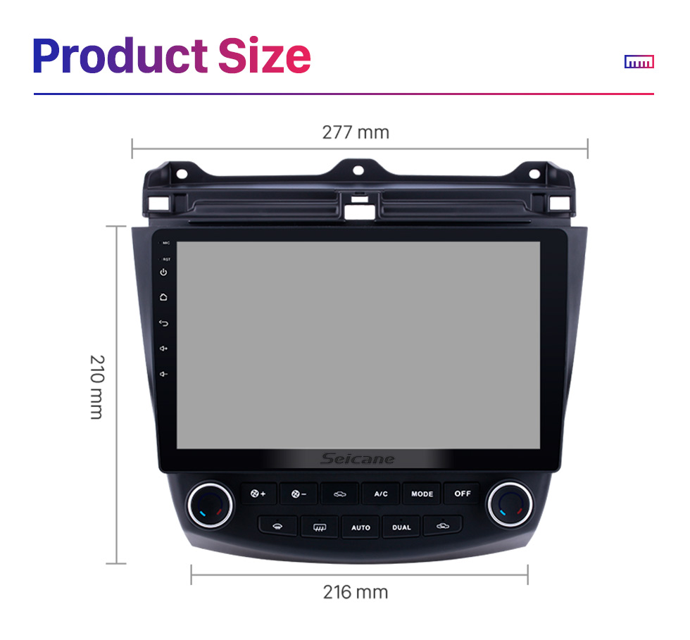 Seicane 10.1 inch Android 9.0 HD 1024*600 Touch Screen Car Radio For 2003 2004 2005 2006 2007 Honda Accord 7 GPS Navigation Bluetooth Music WIFI USB Mirror Link Head unit Support DVR OBD2 Steering Wheel Control Backup Camera