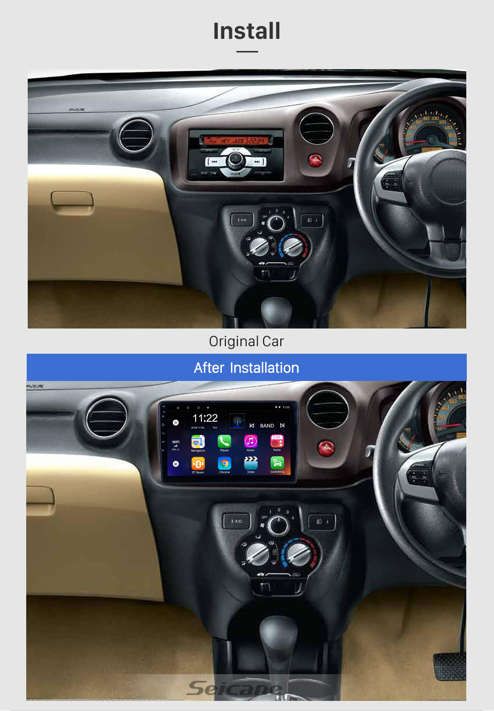 Seicane For 2012 Honda Brio Radio 10.1 inch Android 10.0 HD Touchscreen GPS Navigation System with Bluetooth support Carplay OBD2