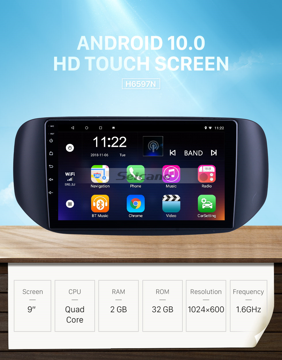 Seicane OEM Android 10.0 for 2018 Tata Hexa RHD Radio with Bluetooth 9 inch HD Touchscreen GPS Navigation System support Carplay