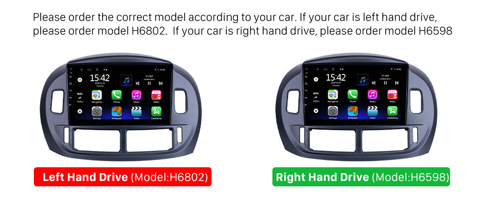 Seicane 9 inch Android 10.0 for 2004 Toyota Previa Radio GPS Navigation System With HD Touchscreen Bluetooth support Carplay Digital TV