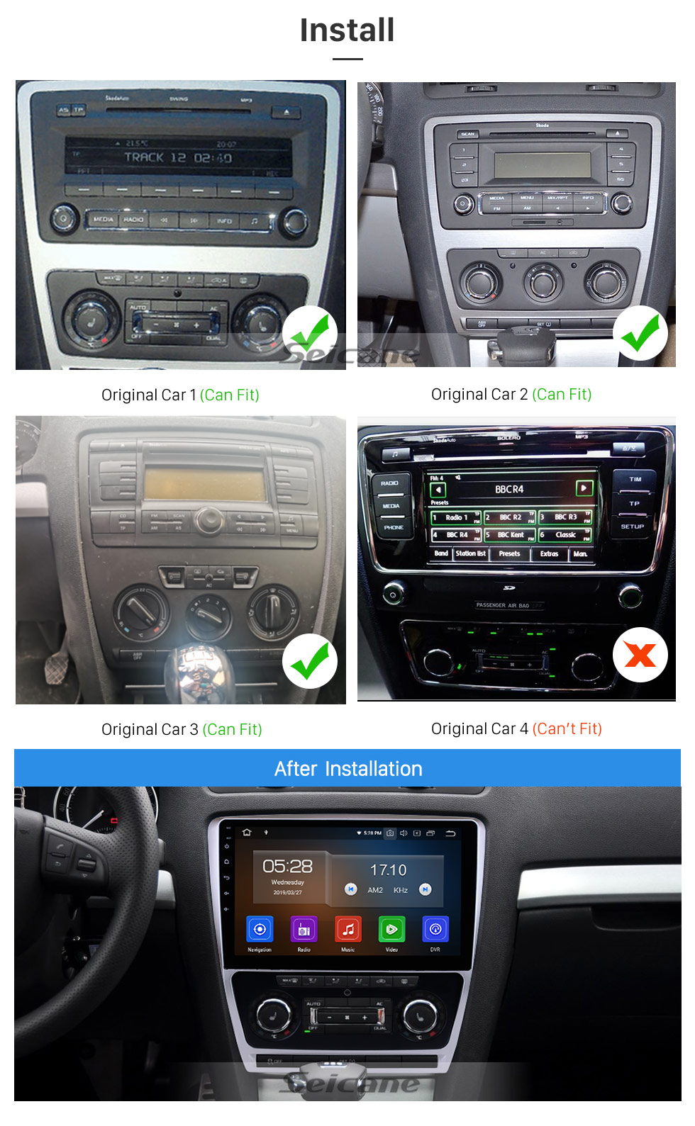 Seicane 10.1 inch For 2007-2012 2013 2014 Skoda Octavia Radio Android 10.0 GPS Navigation System Bluetooth HD Touchscreen Carplay support OBD2