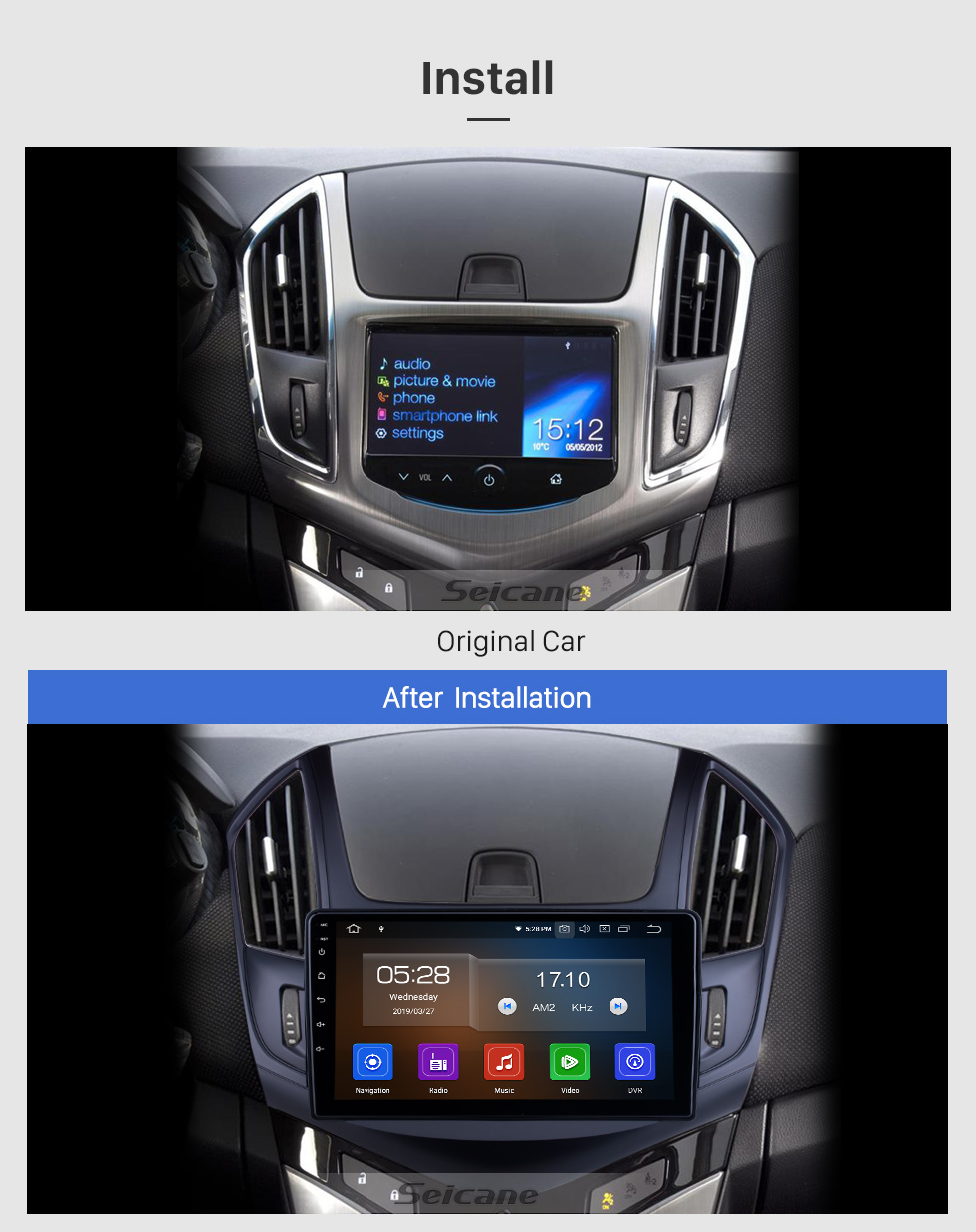 Seicane HD Touchscreen 9 inch for 2013 Chevy Chevrolet Cruze Radio Android 10.0 GPS Navigation System Bluetooth Carplay support TPMS DSP