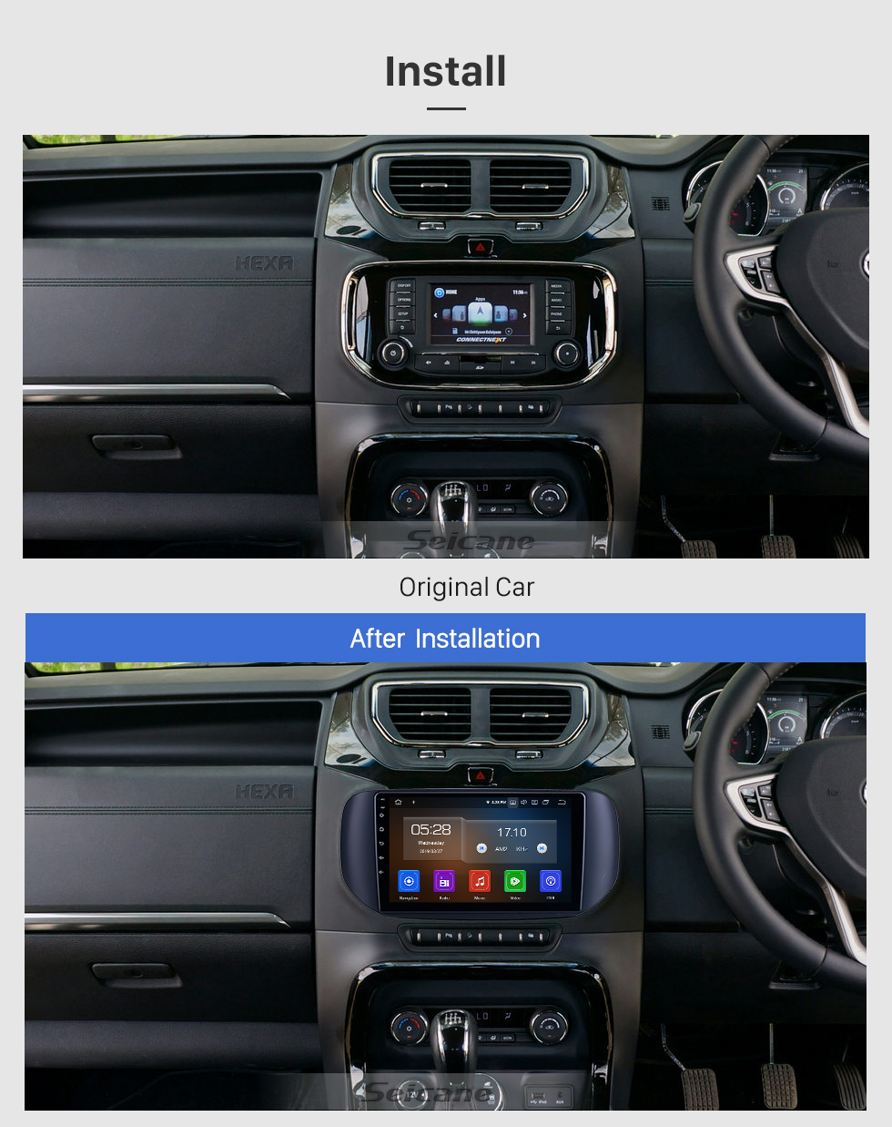 Seicane For 2018 Tata Hexa RHD Radio 9 inch Android 10.0 HD Touchscreen Bluetooth with GPS Navigation System Carplay support 1080P Video