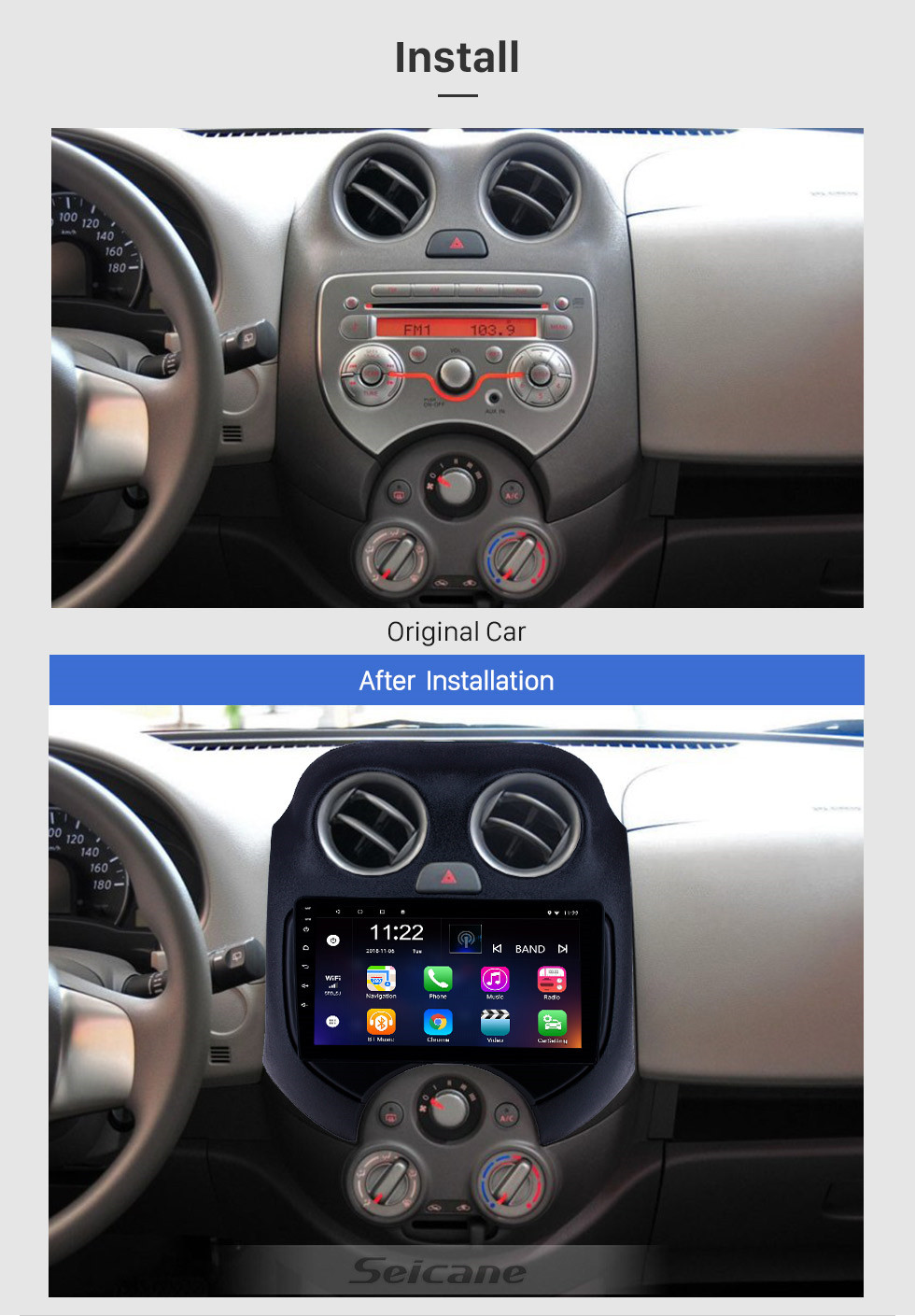 Seicane HD Touchscreen 9 inch Android 10.0 GPS Navigation Radio for 2010 NISSAN MARCH with Bluetooth USB WIFI AUX support DVR Carplay SWC 3G OBD Backup camera