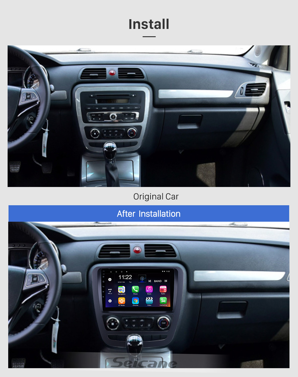 Seicane Für 2018 JAC Shuailing T6 / T8 Radio 9 Zoll Android 10.0 HD Touchscreen GPS-Navigationssystem mit Bluetooth-Unterstützung Carplay OBD2