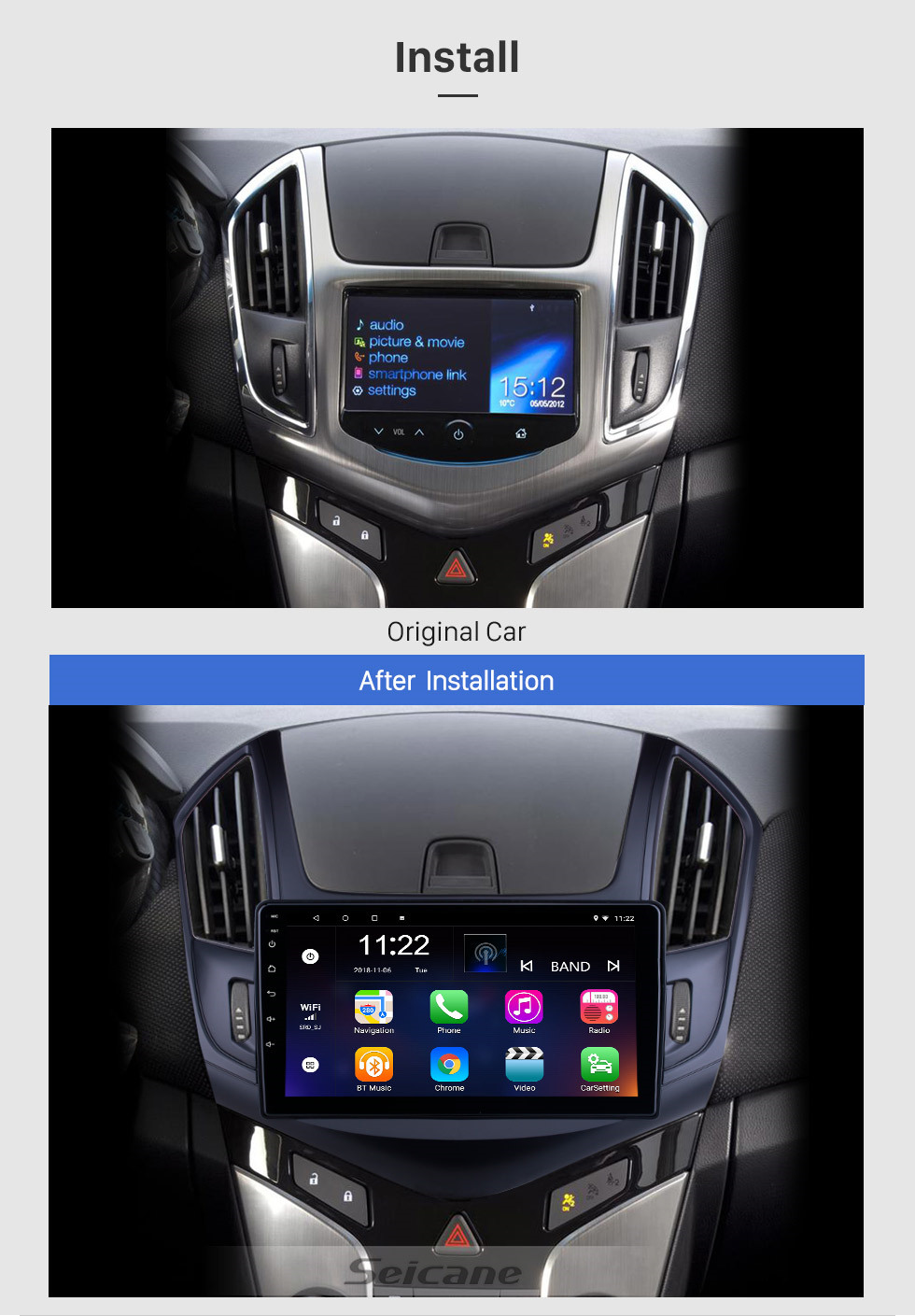 Seicane OEM 9 inch Android 10.0 for 2013 Chevy Chevrolet Cruze Radio with Bluetooth HD Touchscreen GPS Navigation System support Carplay