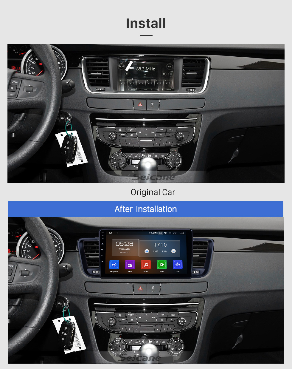 Seicane For 2011-2015 2016 2017 Peugeot 508 Radio HD Touchscreen 9 inch Android 10.0 Bluetooth with GPS Navigation System Carplay support 1080P