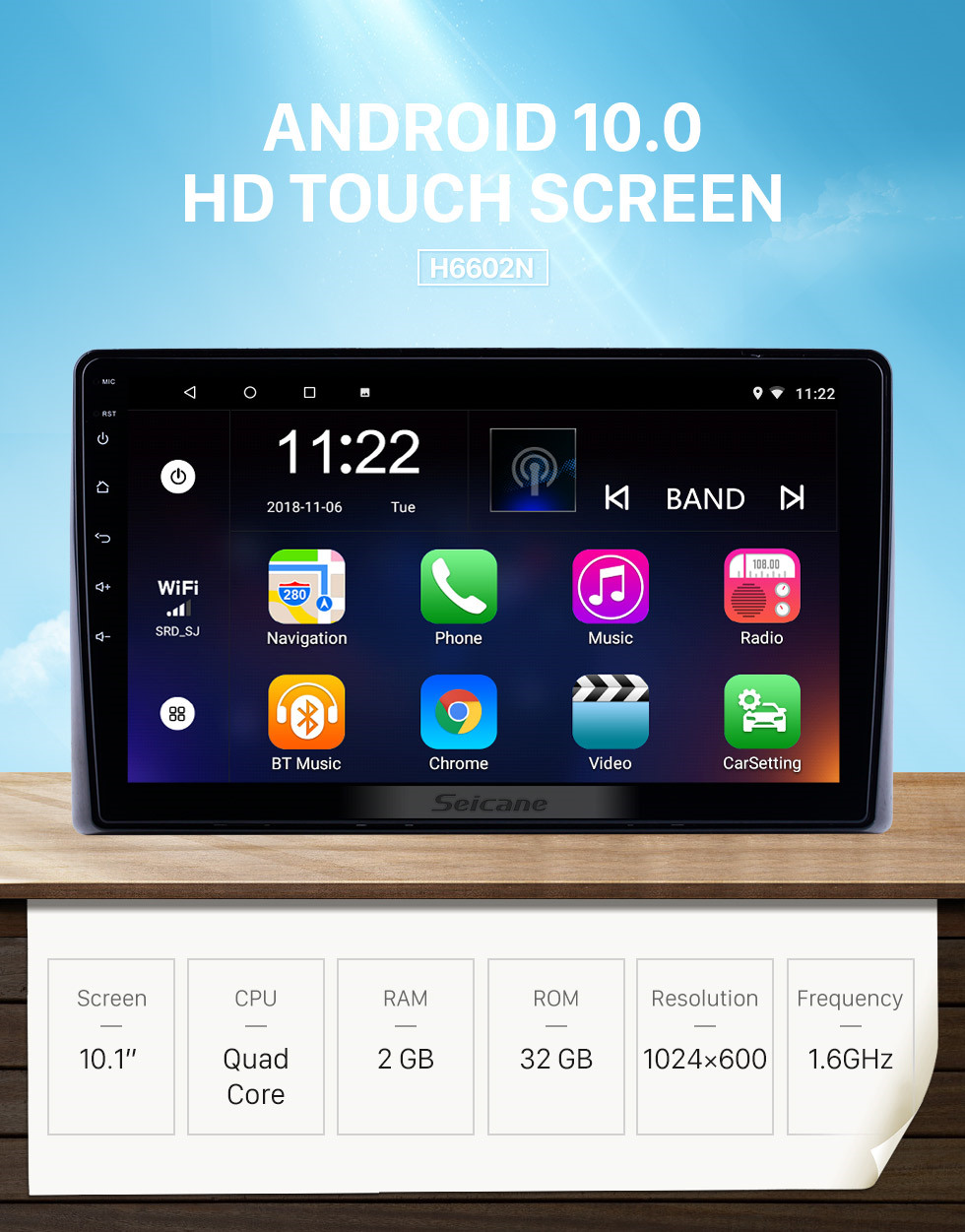 Seicane 10.1 inch Android 10.0 for 2019 Toyota Previa Radio GPS Navigation System With HD Touchscreen Bluetooth support Carplay Rear camera