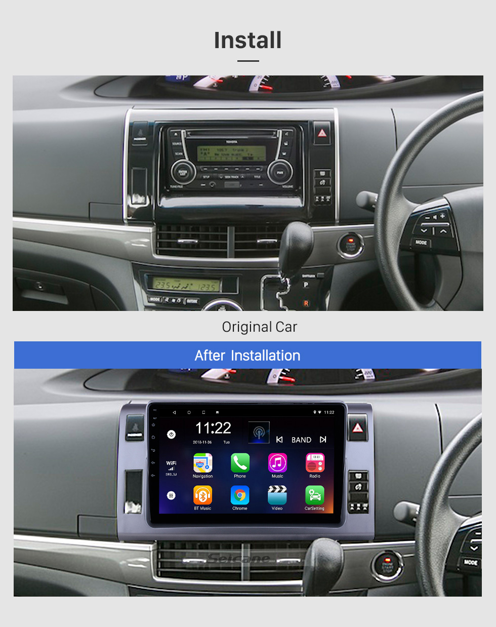 Seicane OEM 10.1 inch Android 10.0 for 2006 Toyota Previa/Estima/Tarago Radio with Bluetooth HD Touchscreen GPS Navigation System support Carplay