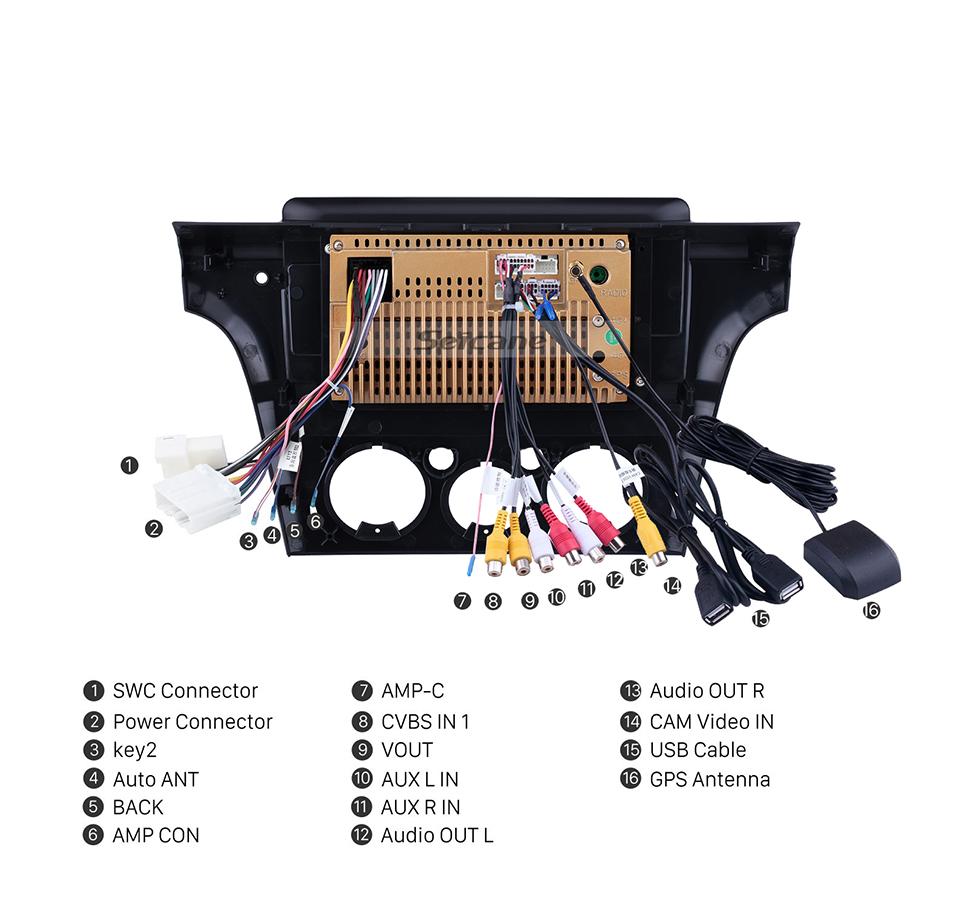 Seicane 10,1 polegadas Android 10.0 para 2001 2002-2005 Mitsubishi Airtrek / Outlander Radio Sistema de Navegação GPS Com HD Touchscreen Suporte Bluetooth Carplay