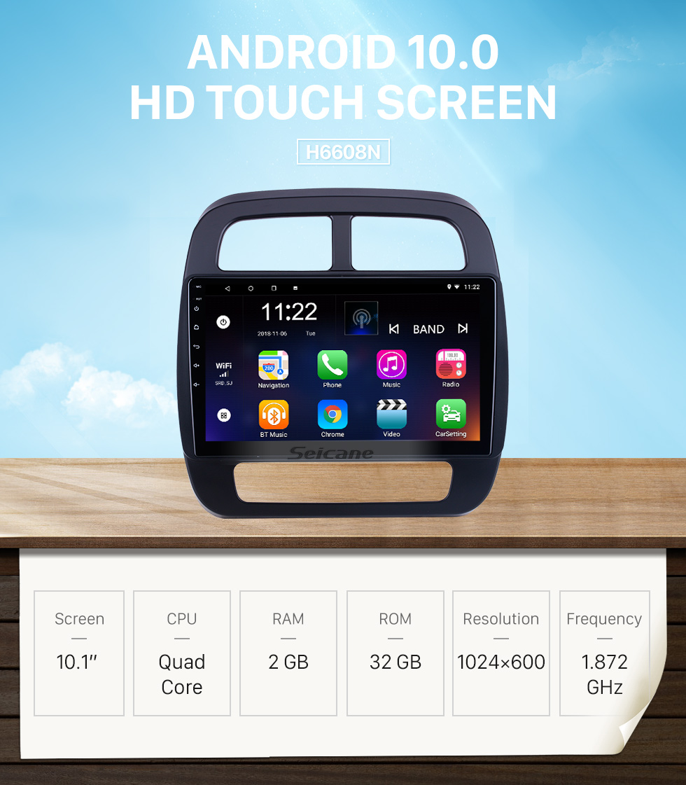 Seicane HD Touchscreen 10.1 inch Android 10.0 for 2019 Renault City K-ZE Radio GPS Navigation System with Bluetooth support Carplay DVR