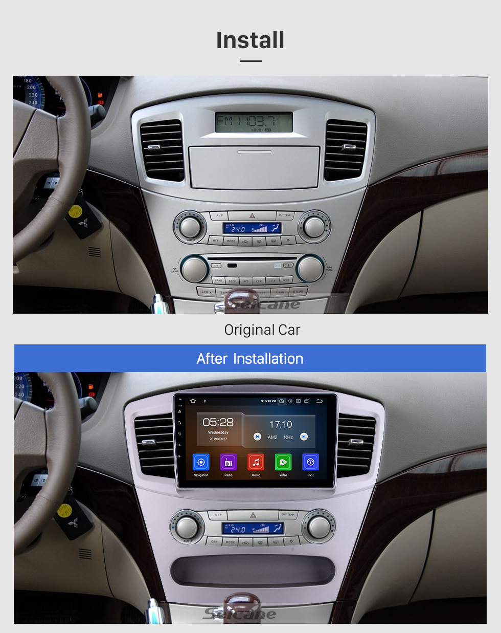 Seicane HD Touchscreen 9 inch for 2010 Mitsubishi Galant Radio Android 10.0 GPS Navigation System Bluetooth Carplay support DSP DVR