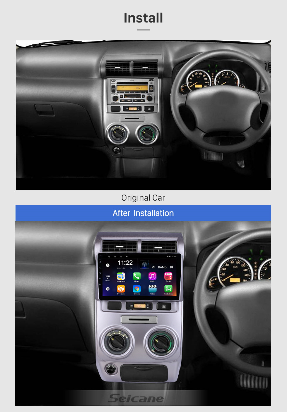 Seicane For 2004 2005 2006-2012 Toyota Avanza Radio 9 inch Android 10.0 HD Touchscreen GPS Navigation System with Bluetooth support Carplay OBD2
