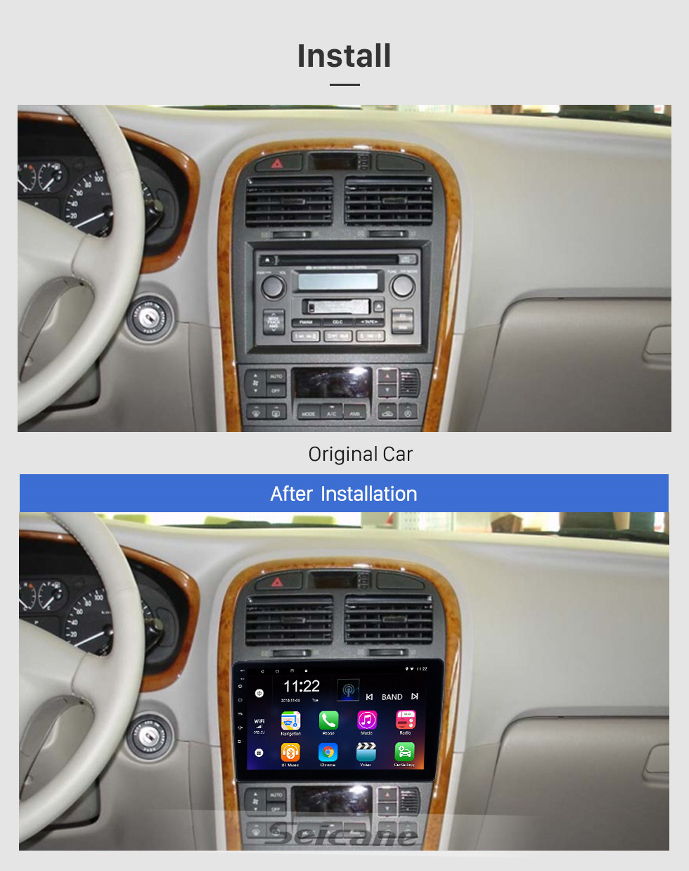 Seicane Android 10.0 9 inch for 2005 Kia Optima Radio HD Touchscreen GPS Navigation System with Bluetooth USB support Carplay DVR
