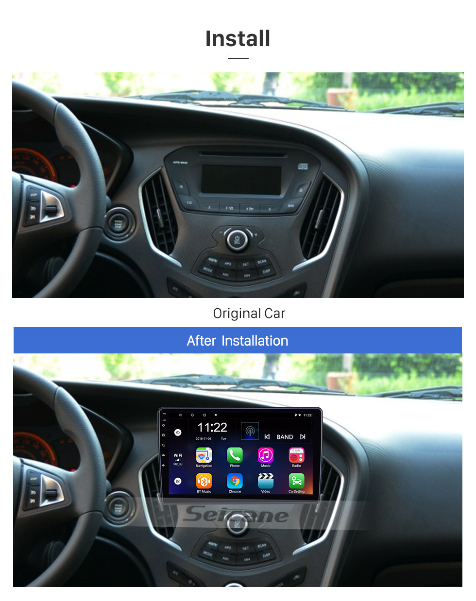 Seicane 10.1 inch Android 10.0 for 2013 2014 2015 2016 Trumpchi GA3 Radio GPS Navigation System With HD Touchscreen Bluetooth support Carplay