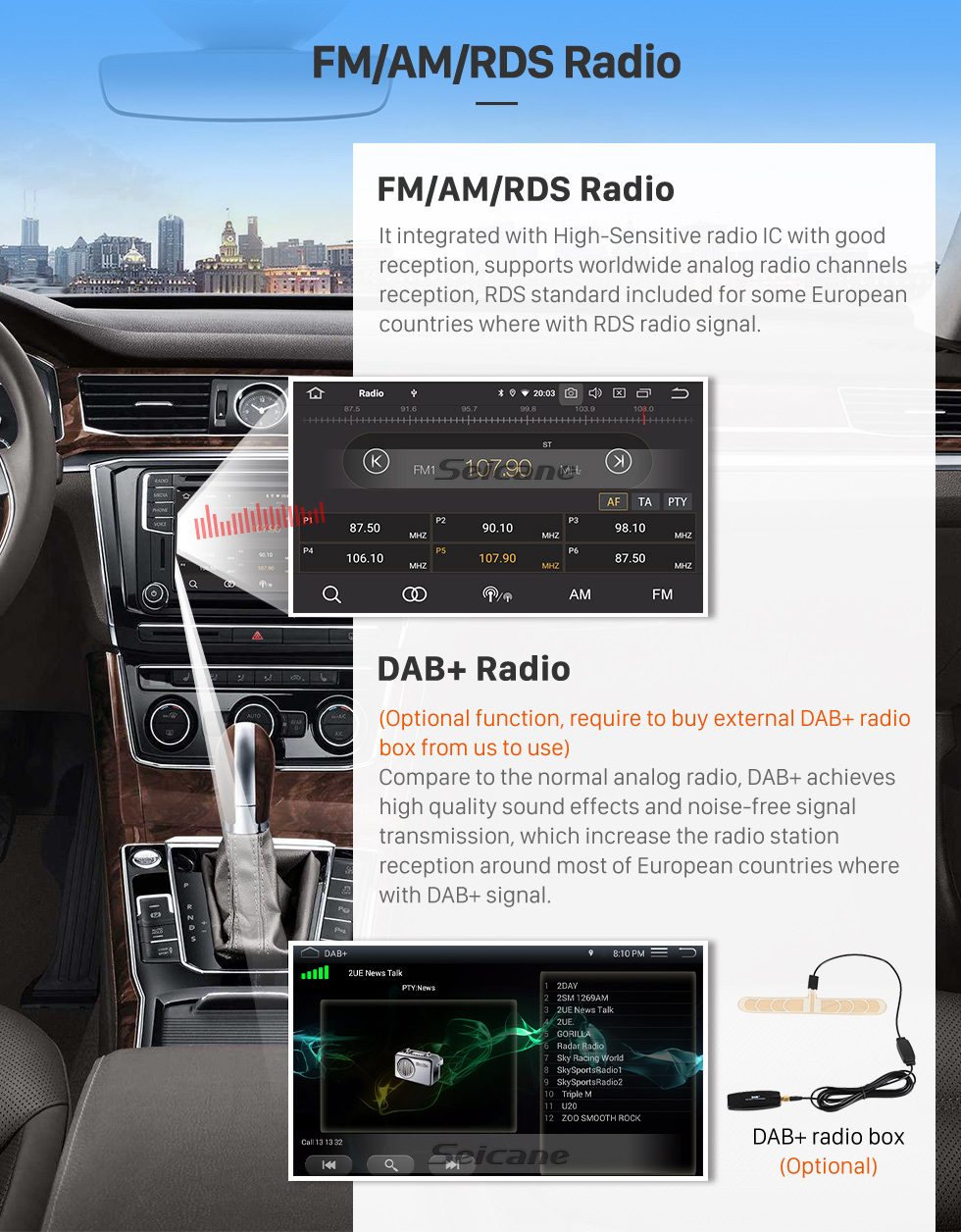 Seicane OEM Android 10.0 for Porsche Old Cayenne Radio with Bluetooth 9 inch HD Touchscreen GPS Navigation System Carplay support DSP