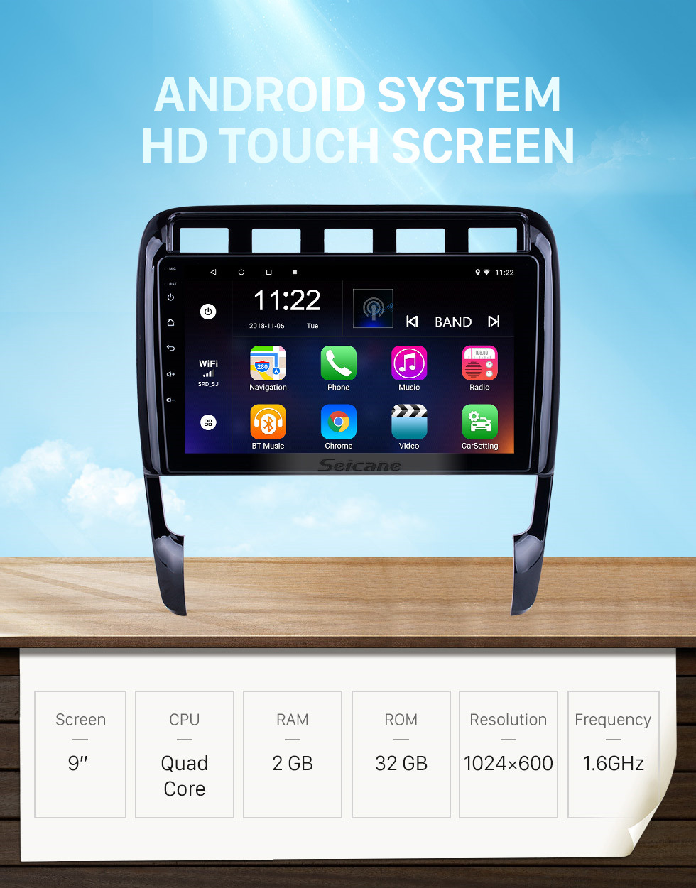 Seicane Android 10.0 HD Touchscreen 9 inch for Porsche Old Cayenne Radio GPS Navigation System with Bluetooth support Carplay TPMS