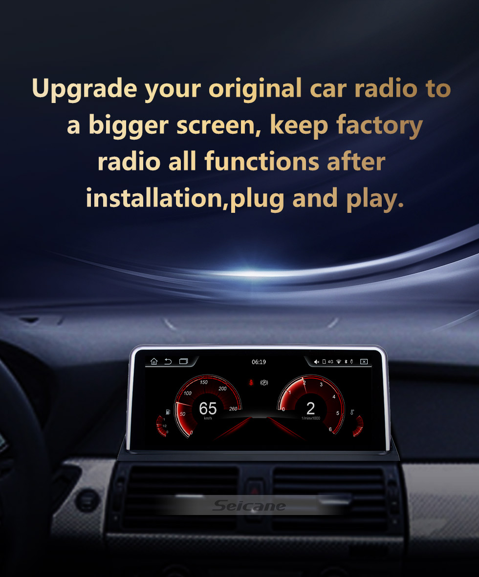Seicane 10.25 inch Android 10.0 for BMW X5 E70/X6 E71(2011-2014) CCC Radio HD Touchscreen GPS Navigation System with Bluetooth support Carplay DVR