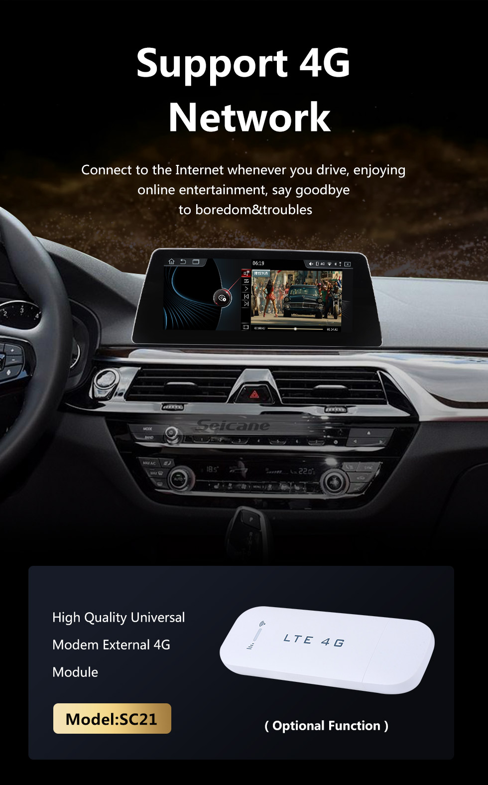 Seicane HD Touchscreen 10.25 inch Android 10.0 for BMW 5 Series G30 G31 G38 F90(2018-) EVO Radio GPS Navigation System with Bluetooth support Carplay