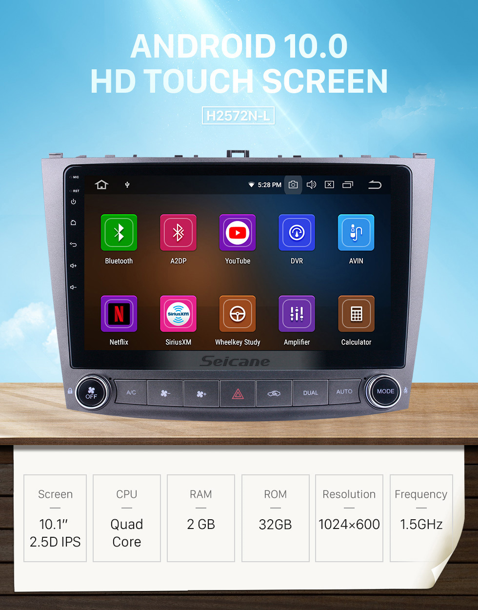 Seicane 10.1 inch For Lexus IS250 Radio Android 10.0 GPS Navigation System with HD Touchscreen Bluetooth Carplay support Backup camera
