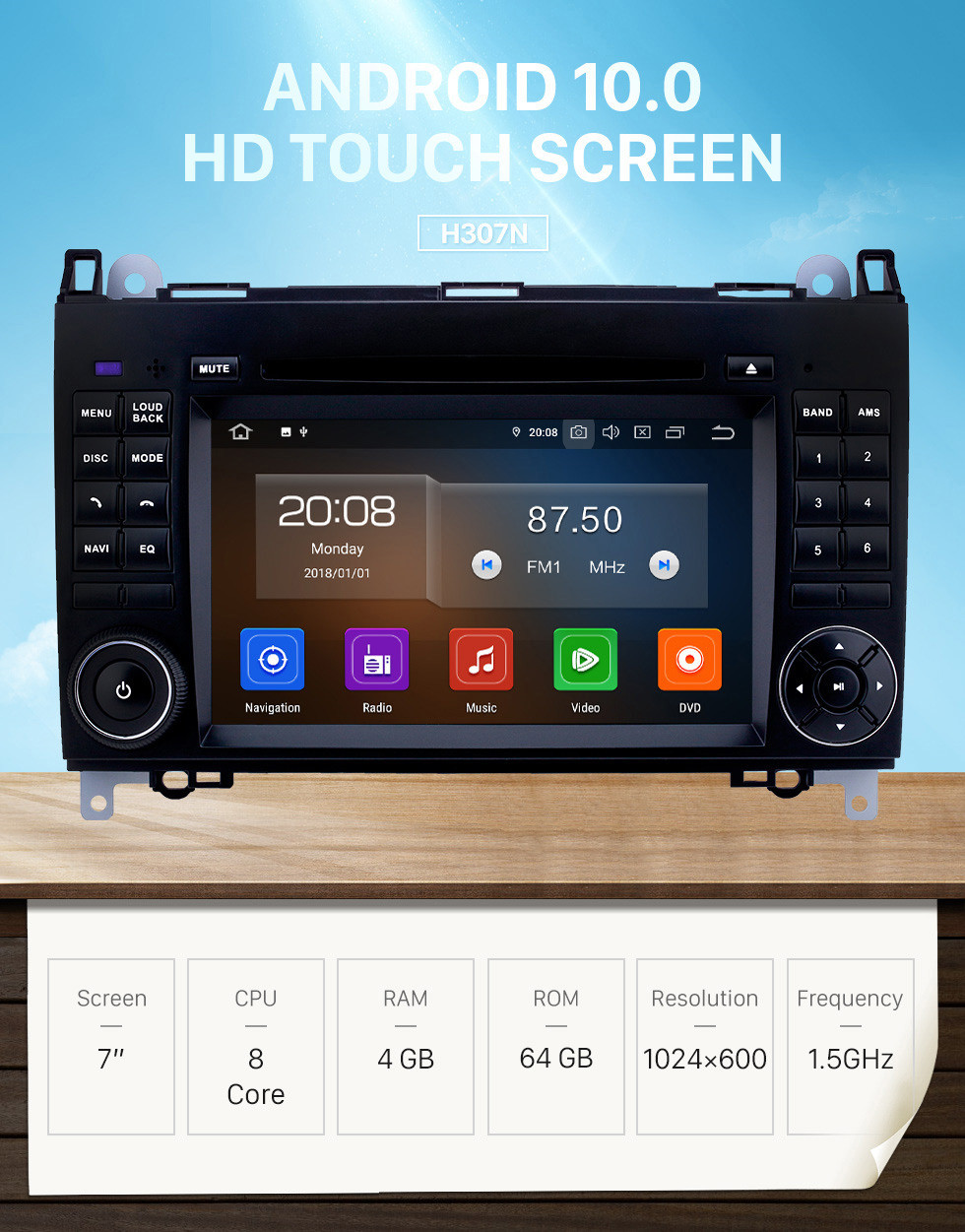 Seicane 7 inch Android 10.0 GPS Navigation Radio for 2000-2015 VW Volkswagen Crafter with HD Touchscreen Carplay Bluetooth WIFI support OBD2 SWC