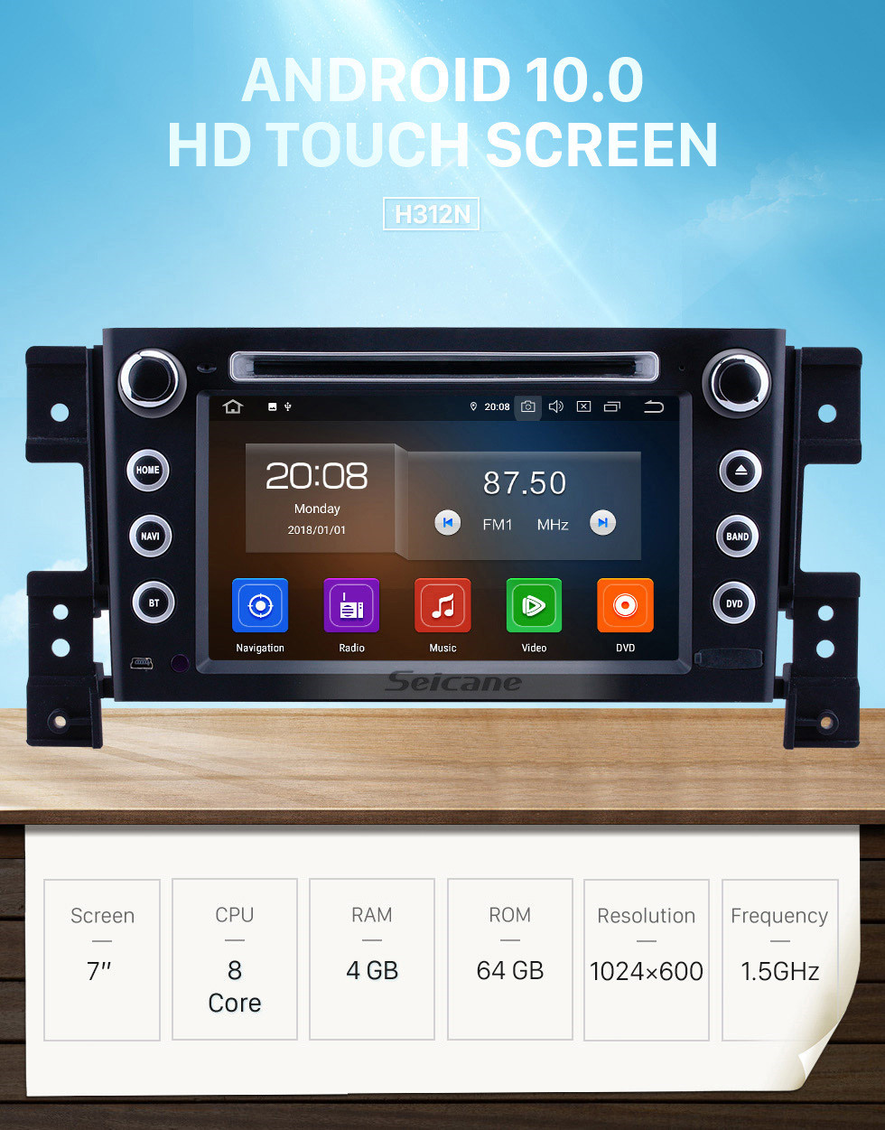 Seicane 7 inch Android 10.0 GPS Navigation Radio for 2006-2010 Suzuki Grand Vitara with HD Touchscreen Carplay Bluetooth support 1080P DVR