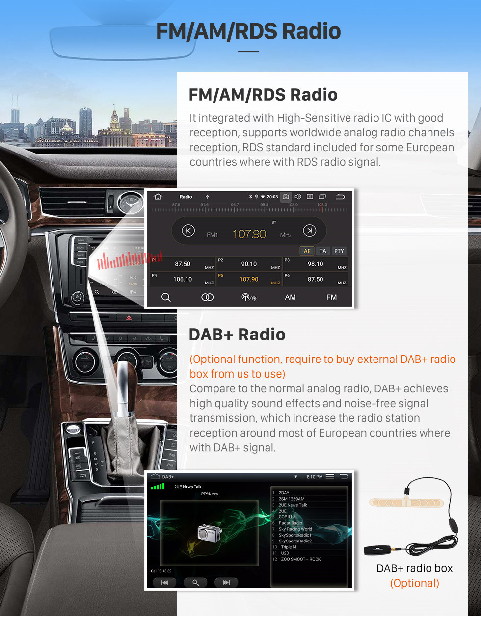 Seicane 7 pouces Android 10.0 HD Radio de navigation GPS à écran tactile pour Toyota Sequoia 2008-2015 / Tundra 2006-2013 avec Carplay Bluetooth WIFI USB support Mirror Link