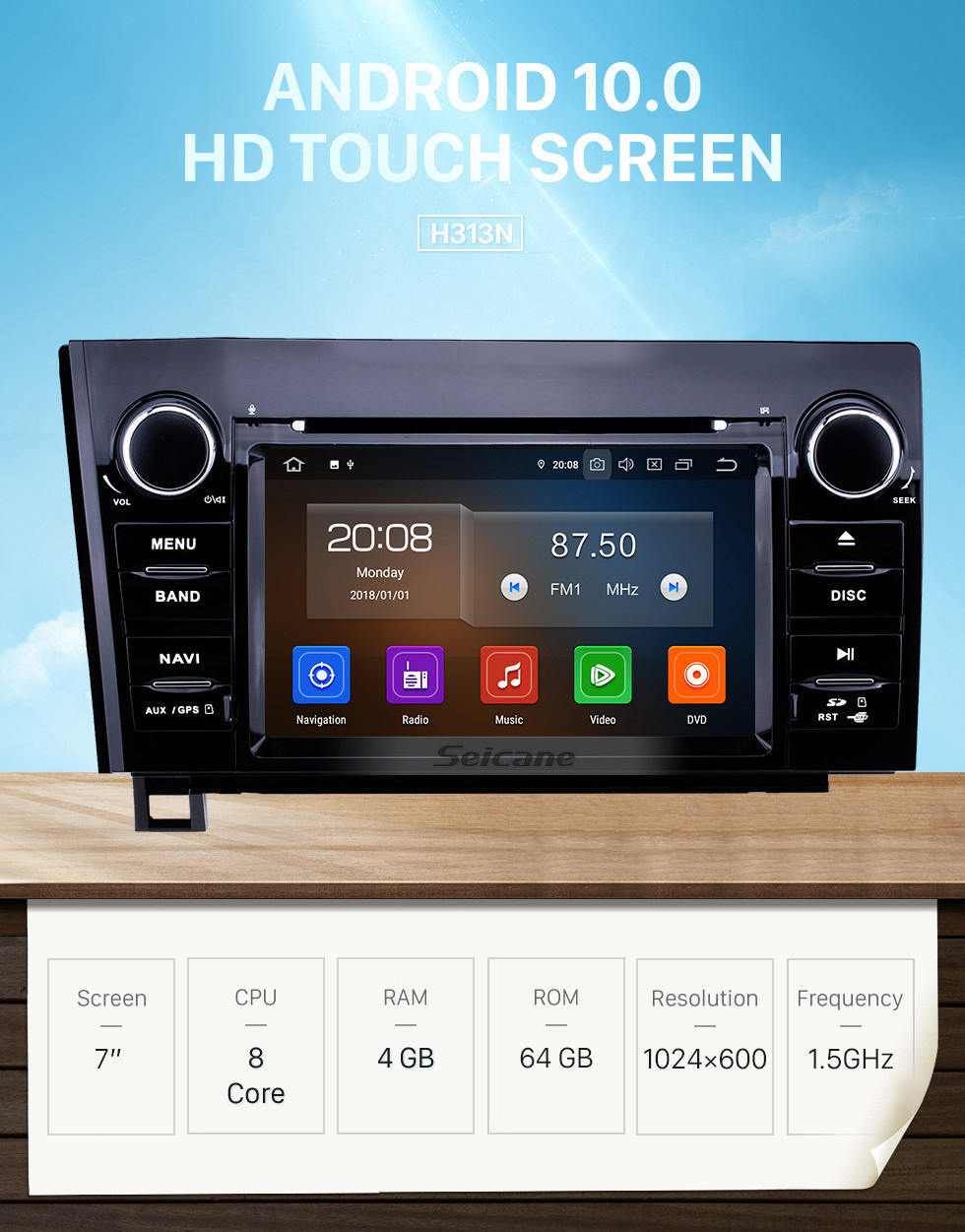 Seicane 7 inch Android 10.0 HD Touchscreen GPS Navigation Radio for 2008-2015 Toyota Sequoia/2006-2013 Tundra with Carplay Bluetooth WIFI USB support Backup camera